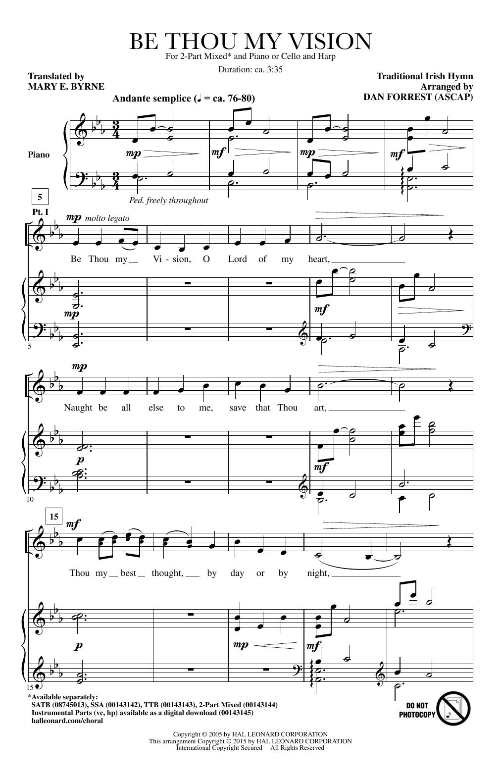 Partition chorale Be Thou My Vision de  - 2 voix