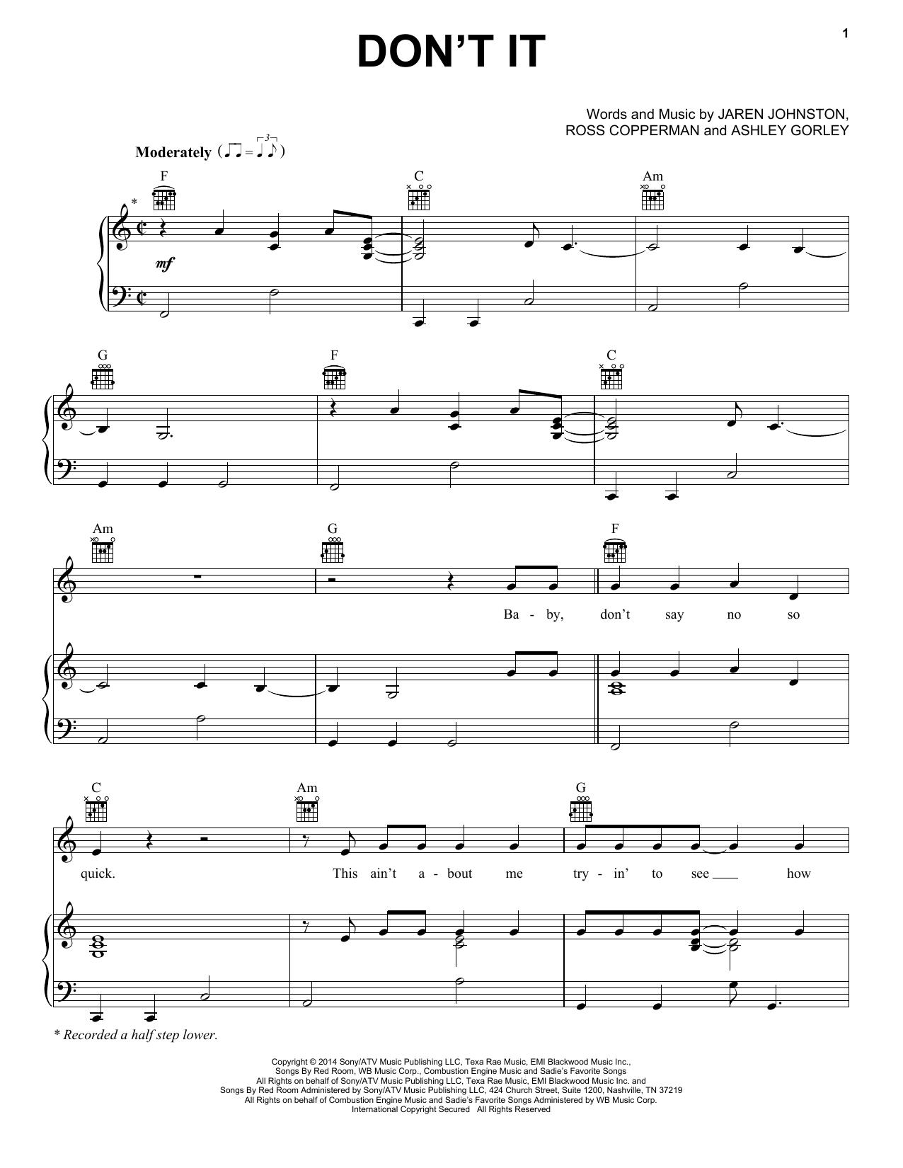 Partition piano Don't It de Billy Currington - Piano Voix Guitare (Mélodie Main Droite)