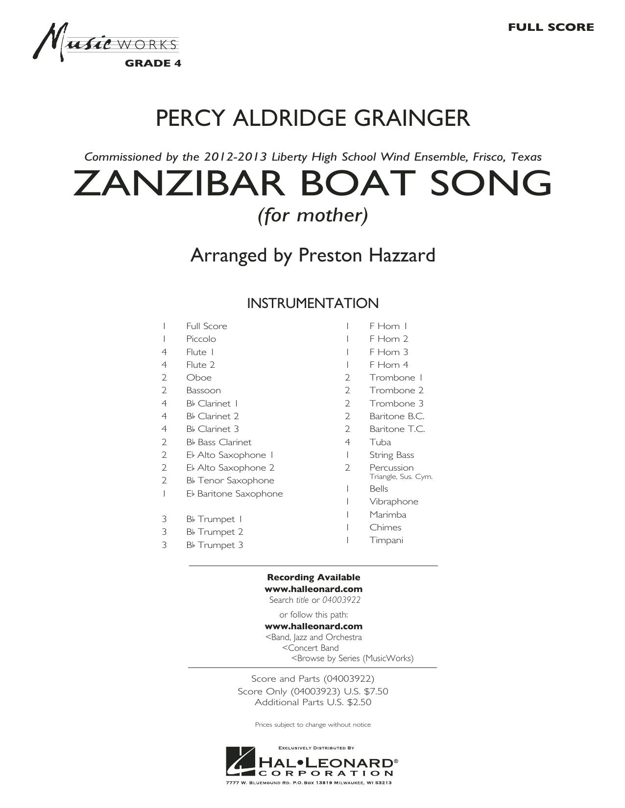Zanzibar Boat Song (COMPLETE) sheet music for concert band by Preston Hazzard