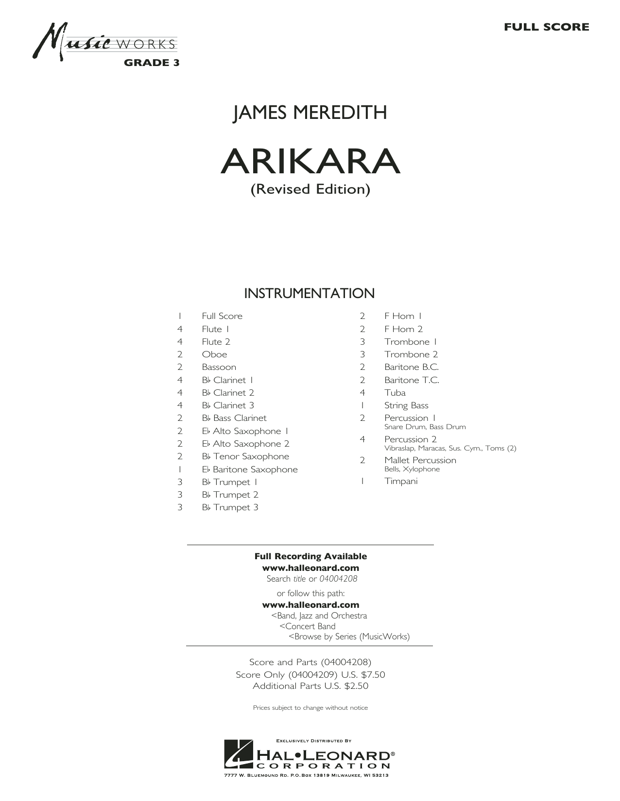 Arikara (COMPLETE) sheet music for concert band by James Meredith