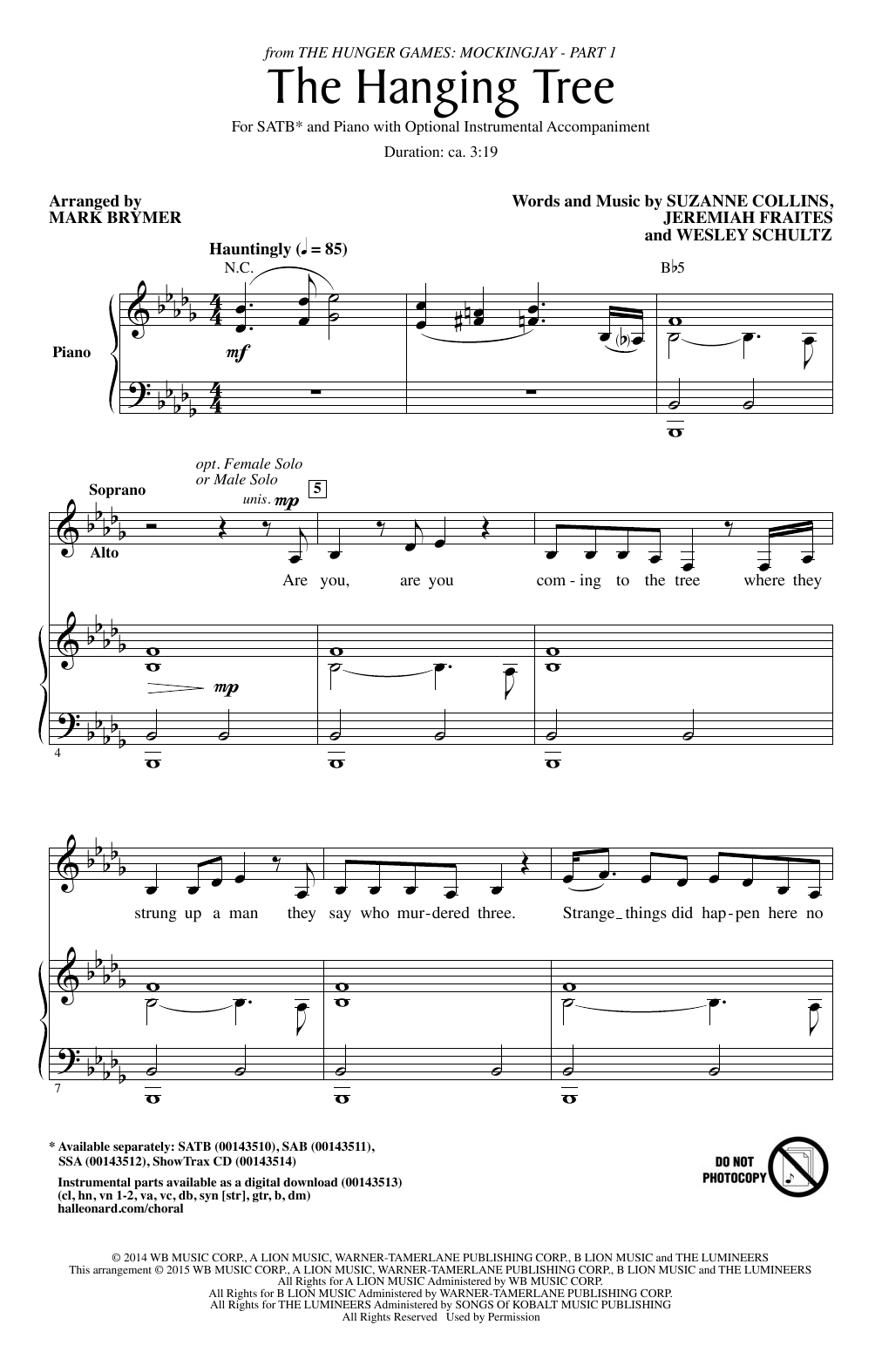 Partition chorale The Hanging Tree de Wesley Schultz - SATB