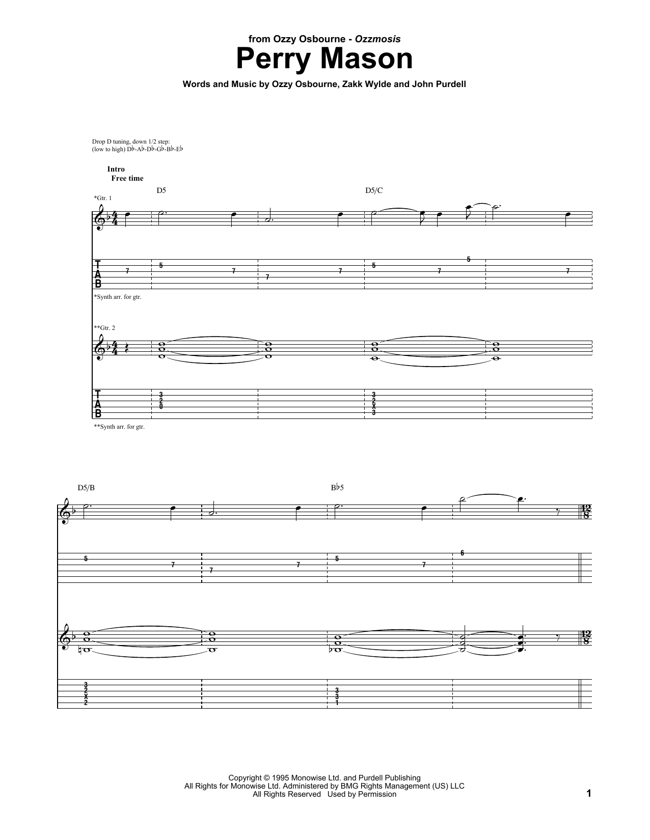 Tablature guitare Perry Mason de Ozzy Osbourne - Tablature Guitare