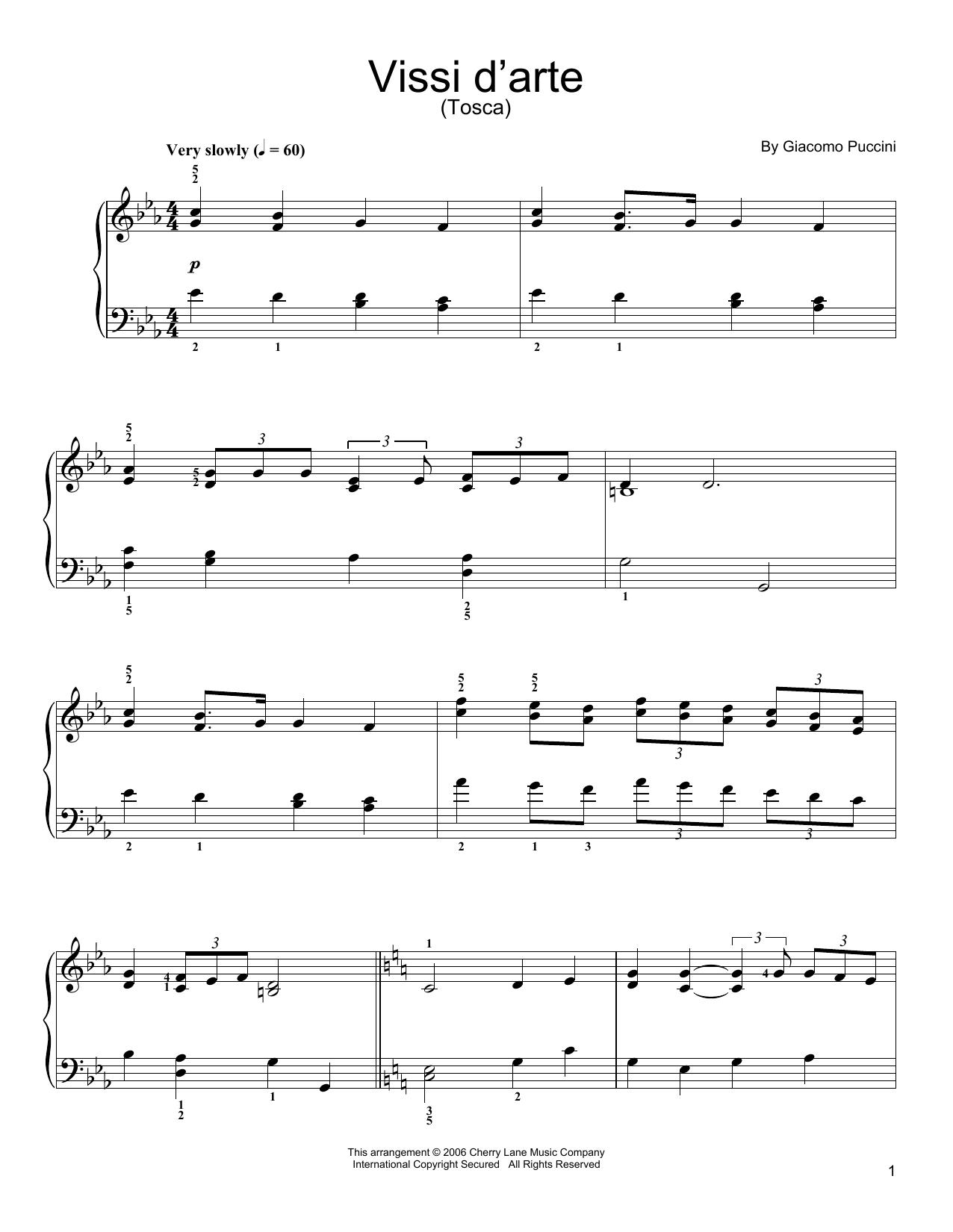 Partition piano Vissi D'arte de Giacomo Puccini - Piano Facile