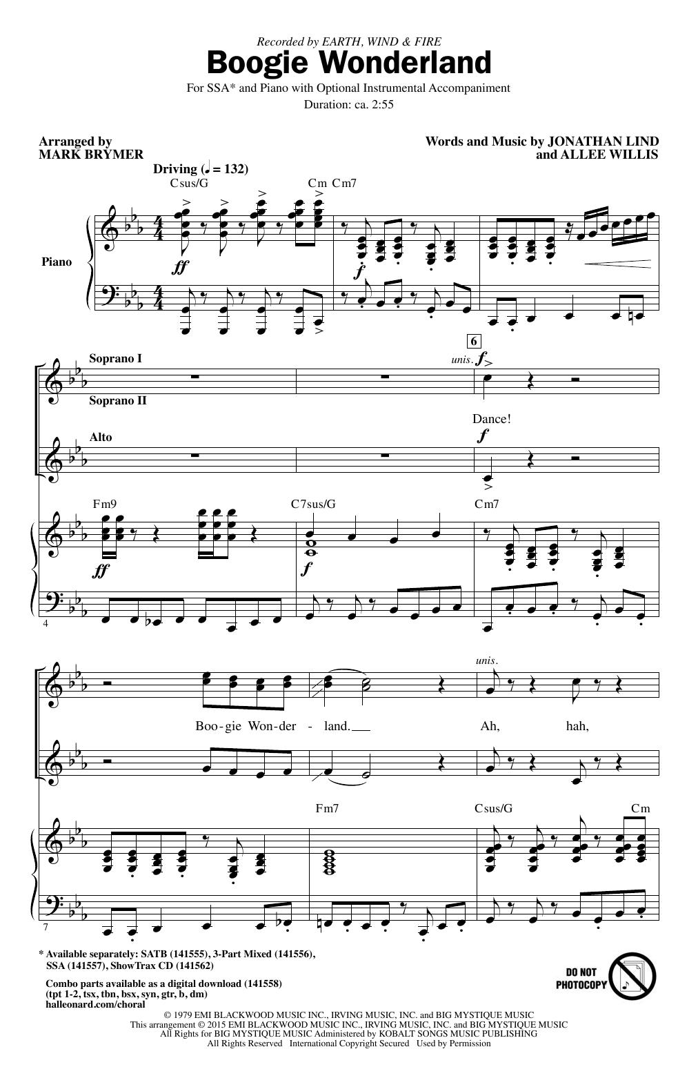 Partition chorale Boogie Wonderland (arr. Mark Brymer) de Wind & Fire Earth - SSA