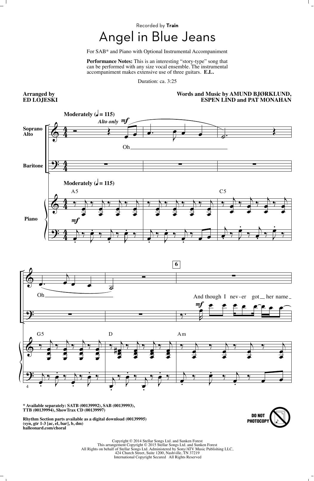 Partition chorale Angel In Blue Jeans (arr. Ed Lojeski) de Train - SAB