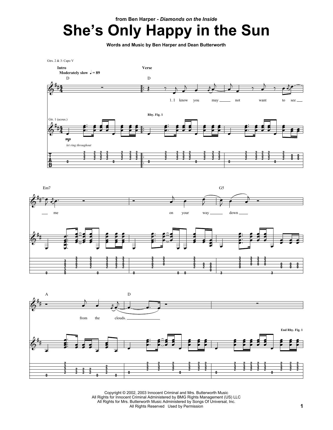 Tablature guitare She's Only Happy In The Sun de Ben Harper - Tablature Guitare