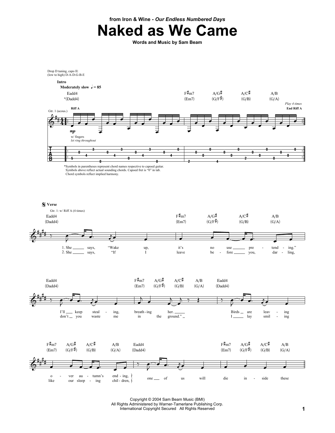 Tablature guitare Naked As We Came de Iron & Wine - Tablature Guitare