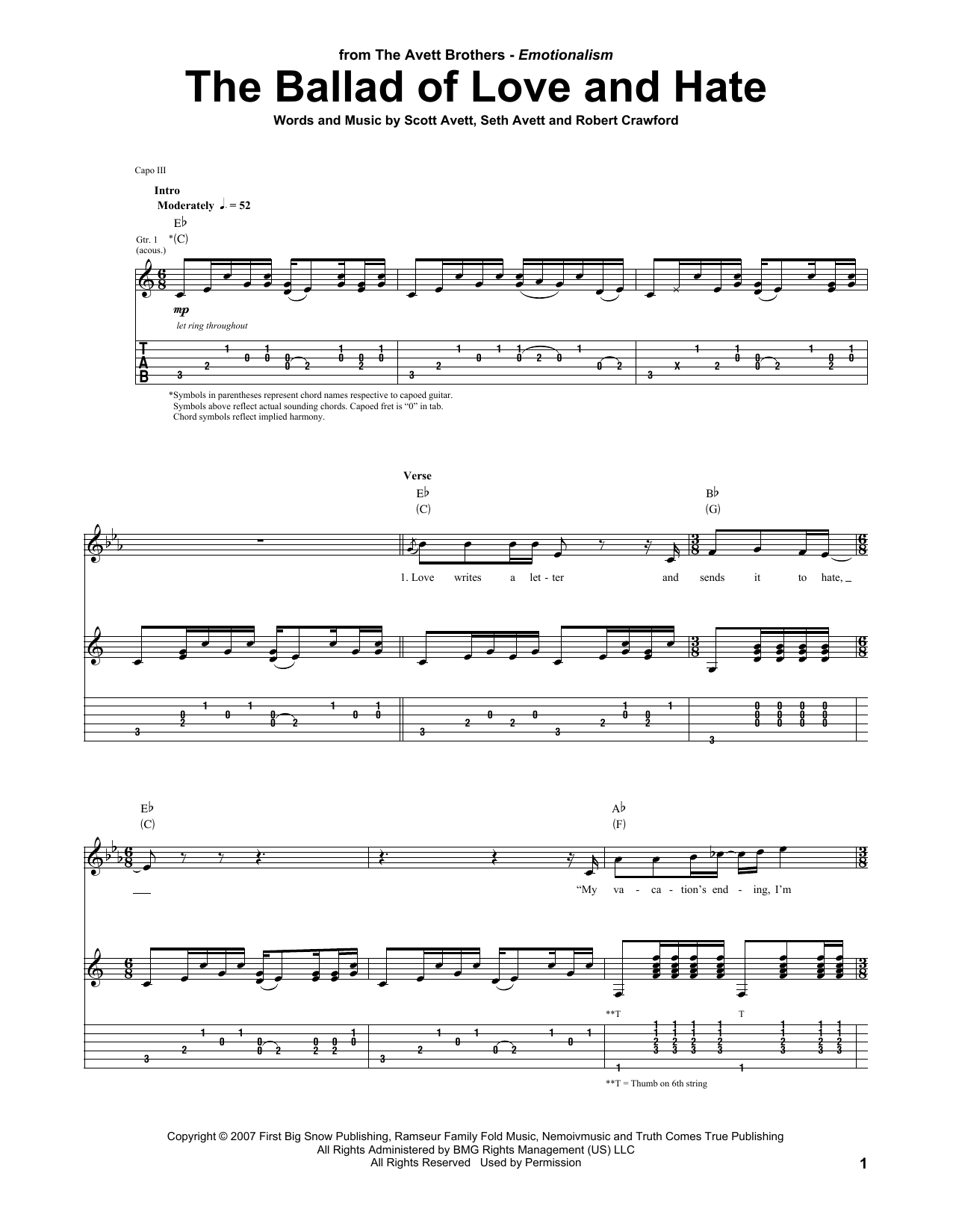 Tablature guitare The Ballad Of Love And Hate de The Avett Brothers - Tablature Guitare
