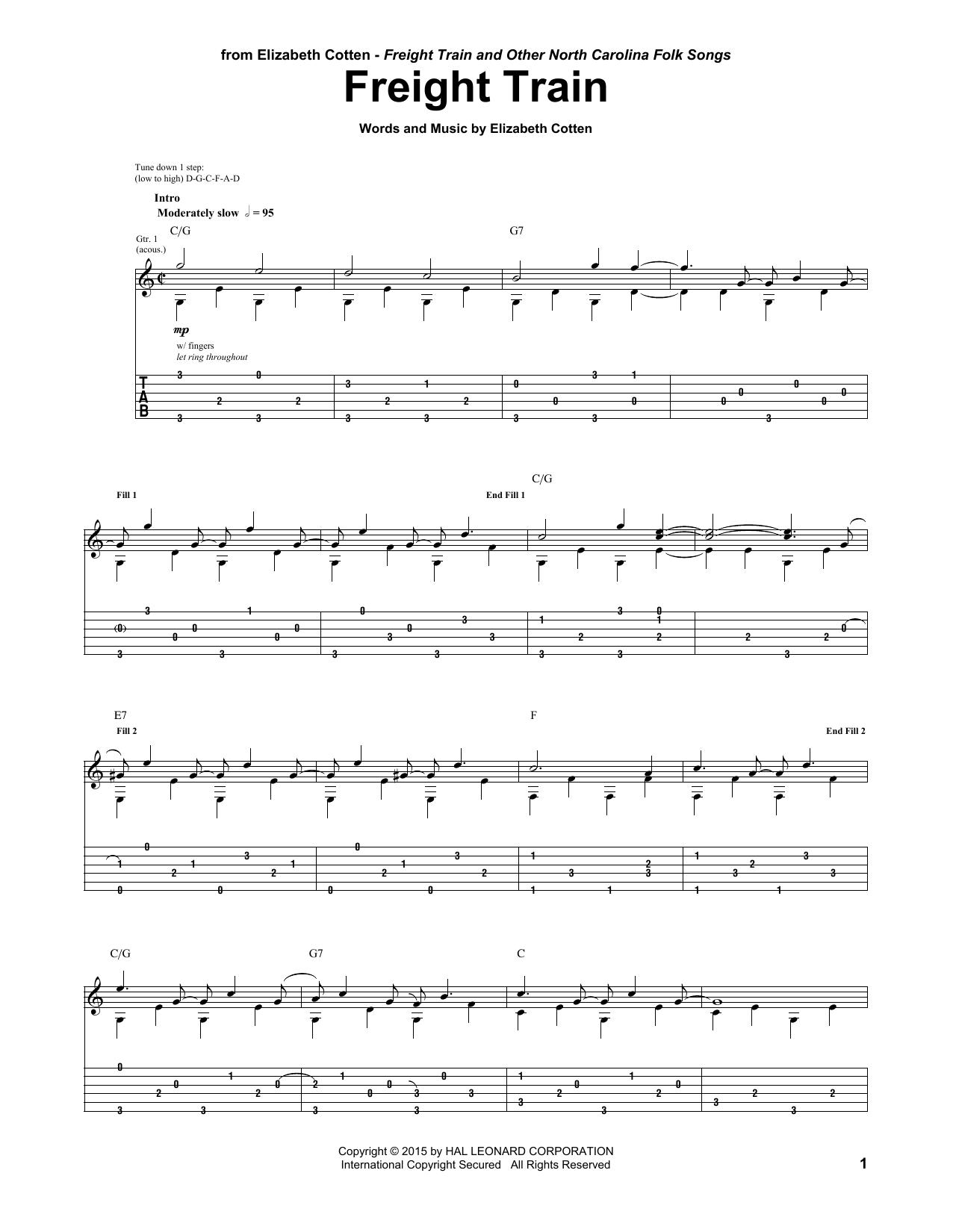 Tablature guitare Freight Train de Elizabeth Cotten - Tablature Guitare