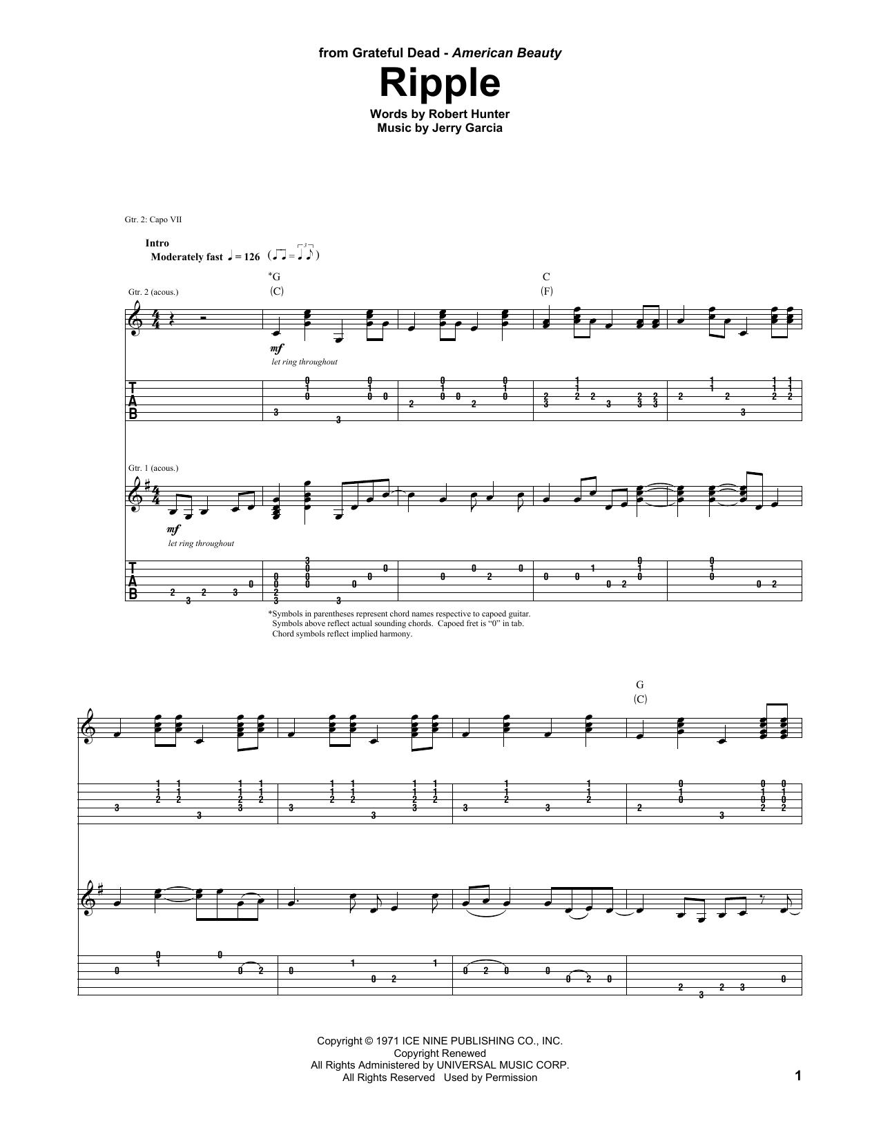 Tablature guitare Ripple de Grateful Dead - Tablature Guitare