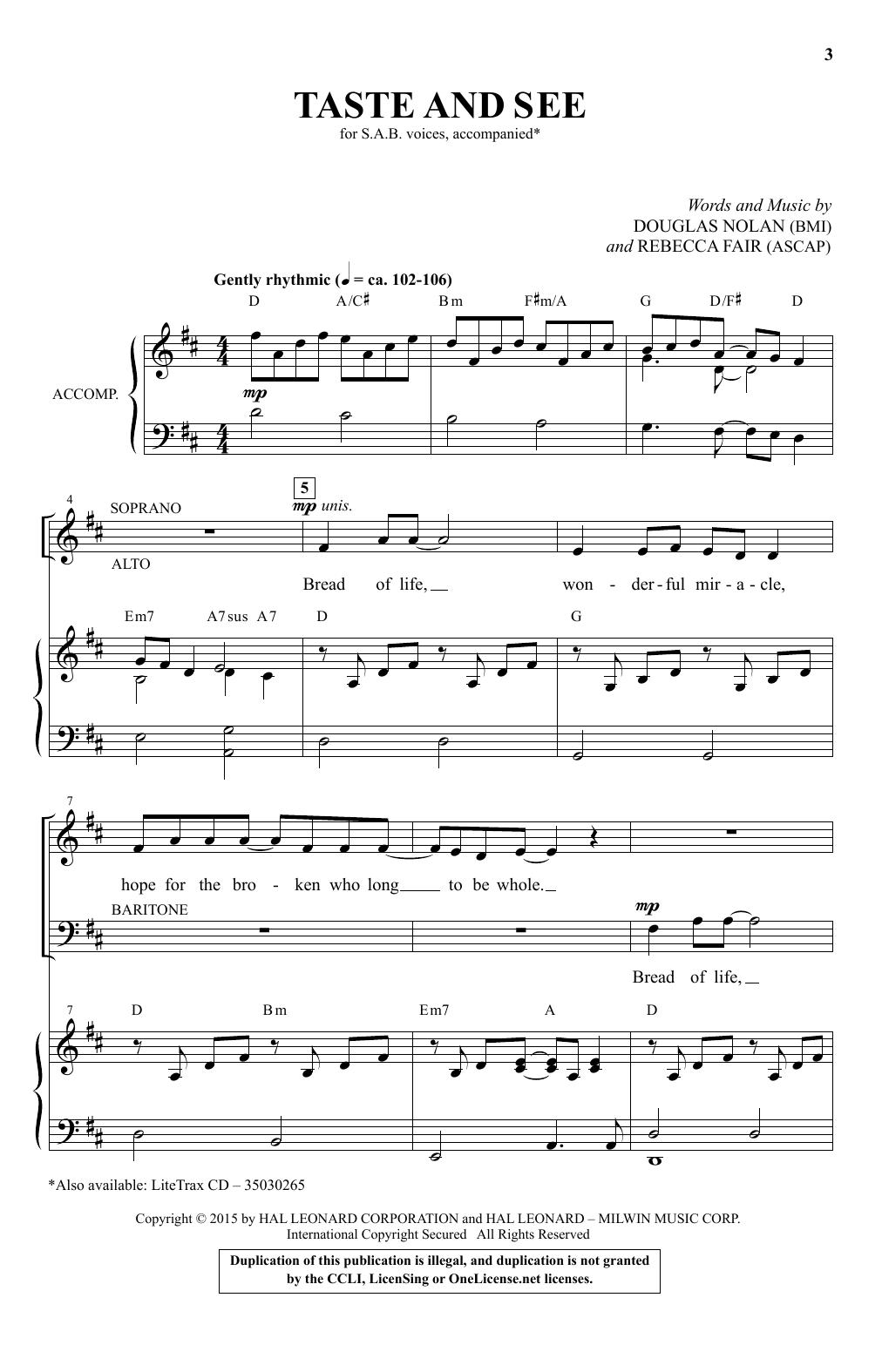 Partition chorale Taste And See de Douglas Nolan - SAB