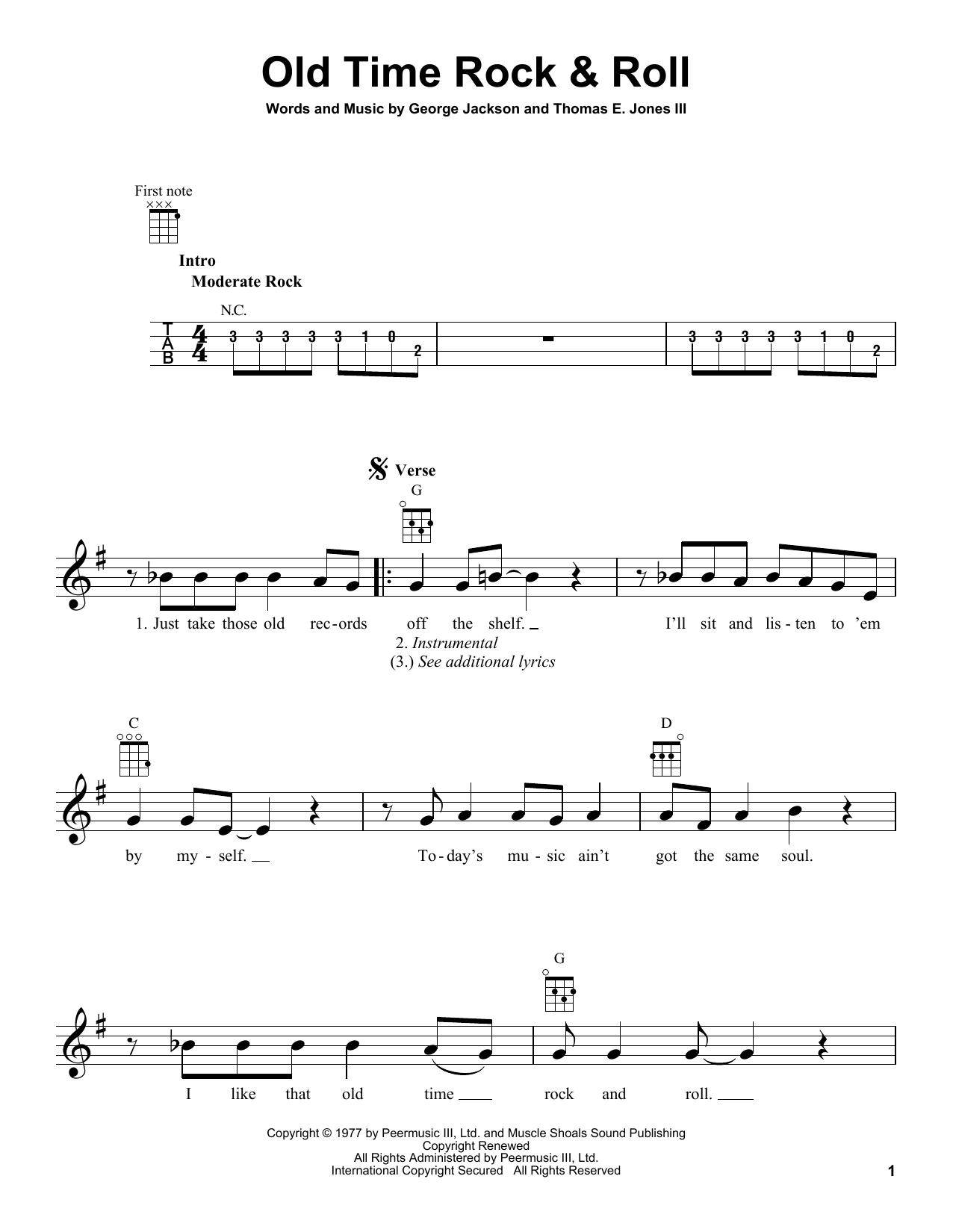 Tablature guitare Old Time Rock & Roll de Bob Seger - Ukulele