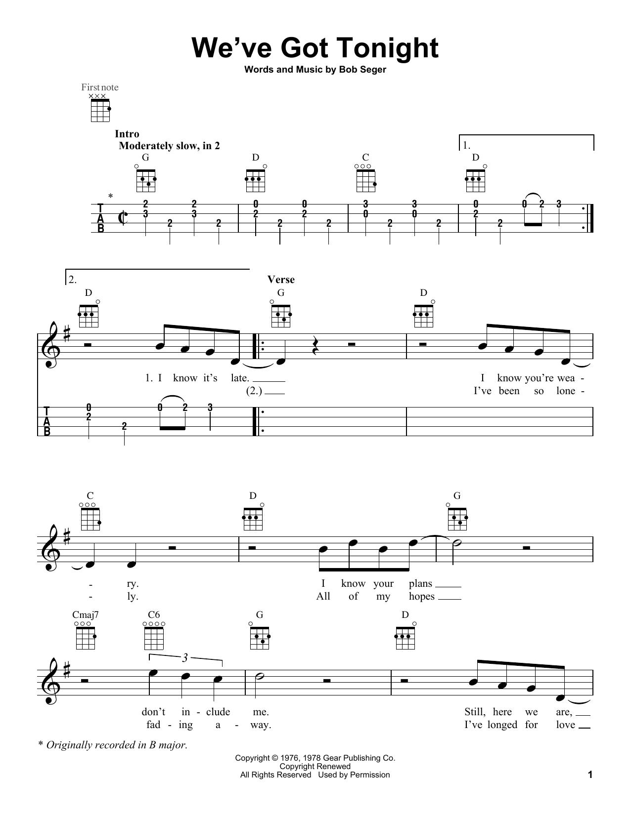 Tablature guitare We've Got Tonight de Bob Seger - Ukulele