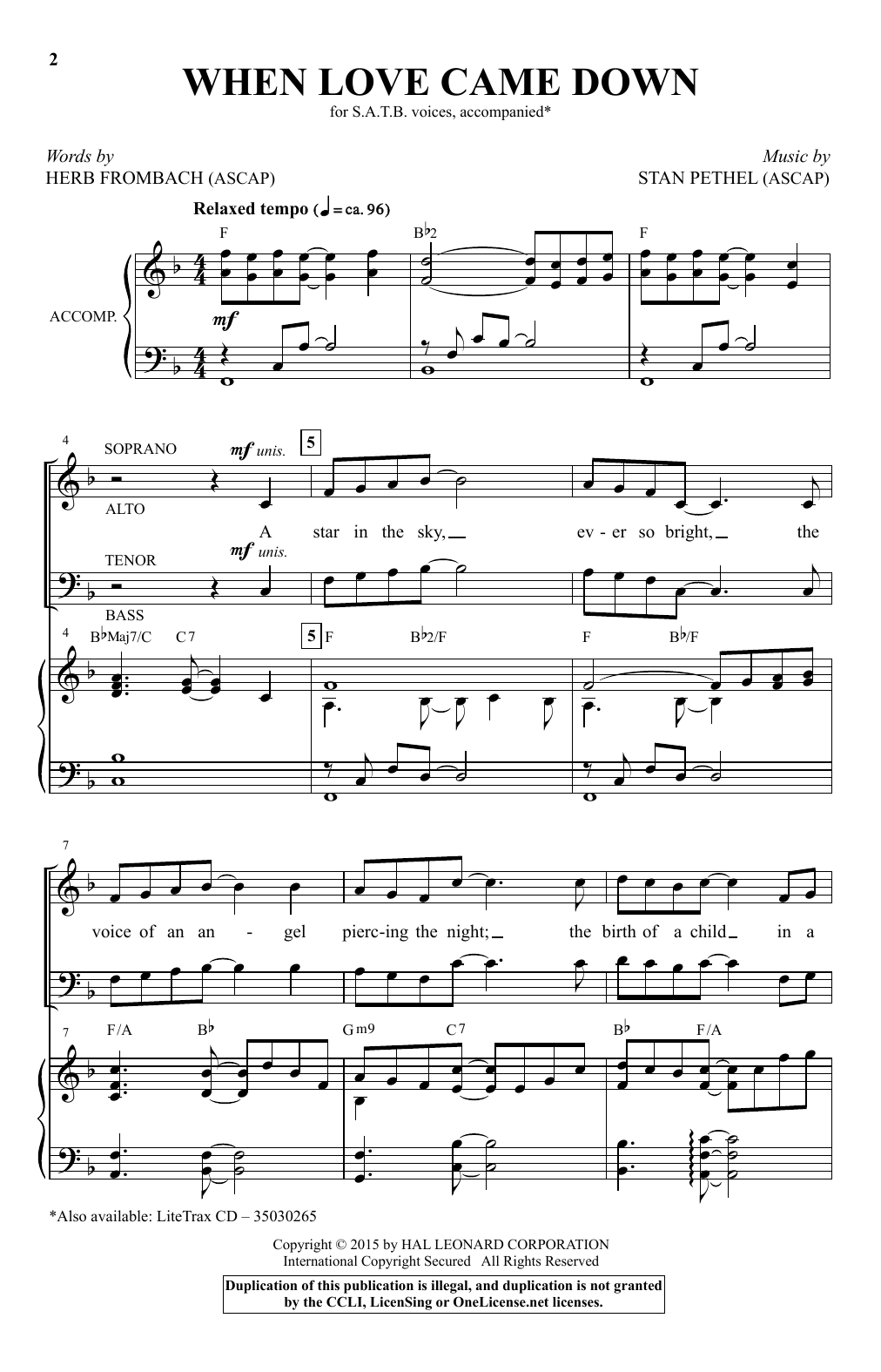 Partition chorale When Love Came Down de Stan Pethel - SATB