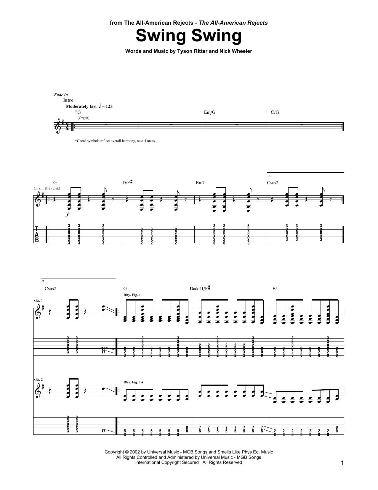 Tablature guitare Swing Swing de The All-American Rejects - Tablature Guitare