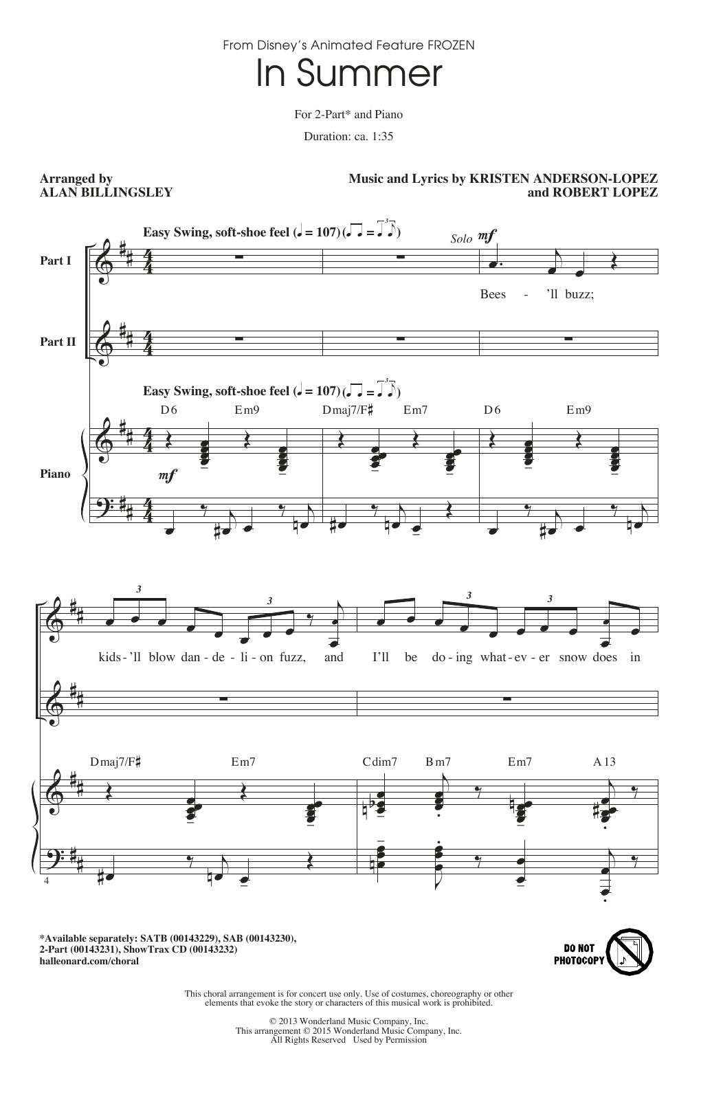 Partition chorale In Summer (arr. Alan Billingsley) de Robert Lopez - 2 voix