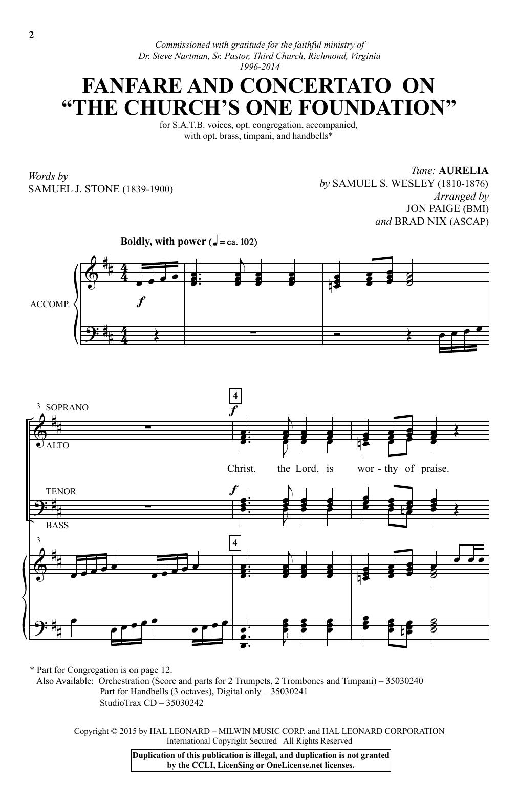 "Partition chorale Fanfare and Concertato on ""The Church's One Foundation"" (arr. Brad Nix) de Samuel Wesley - SATB"