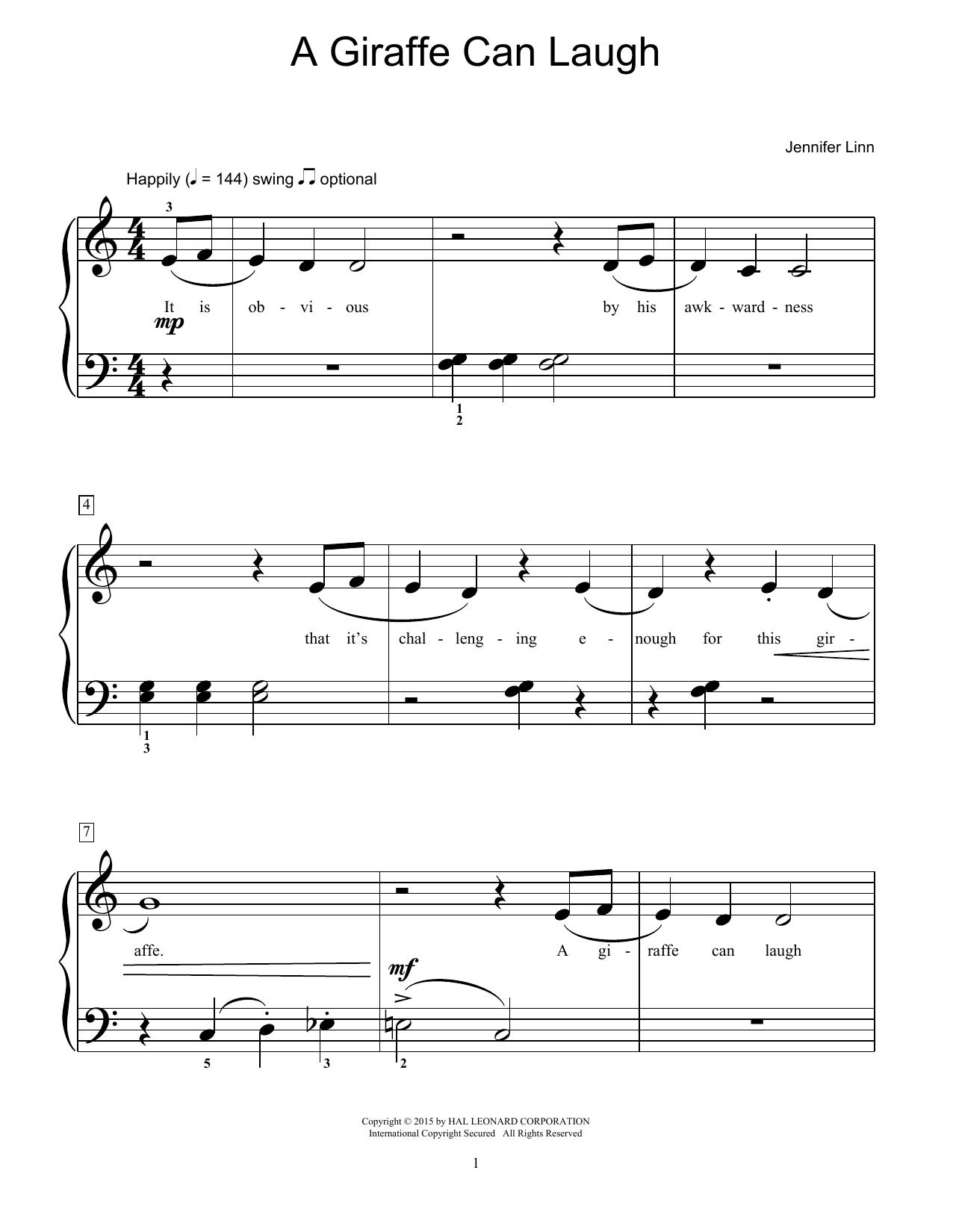 Partition piano A Giraffe Can Laugh de Jennifer Linn - Piano Facile