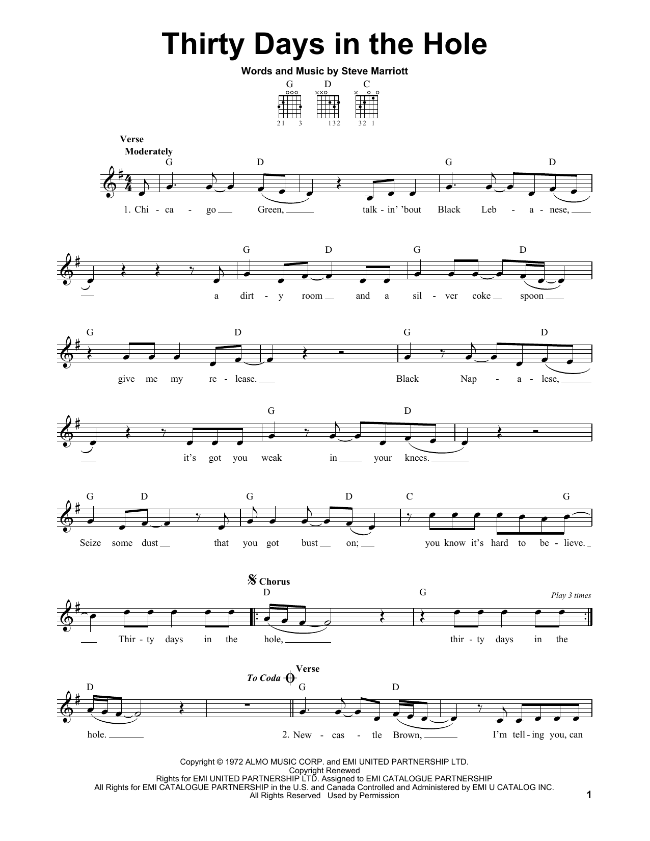 Tablature guitare Thirty Days In The Hole de Humble Pie - Tablature guitare facile