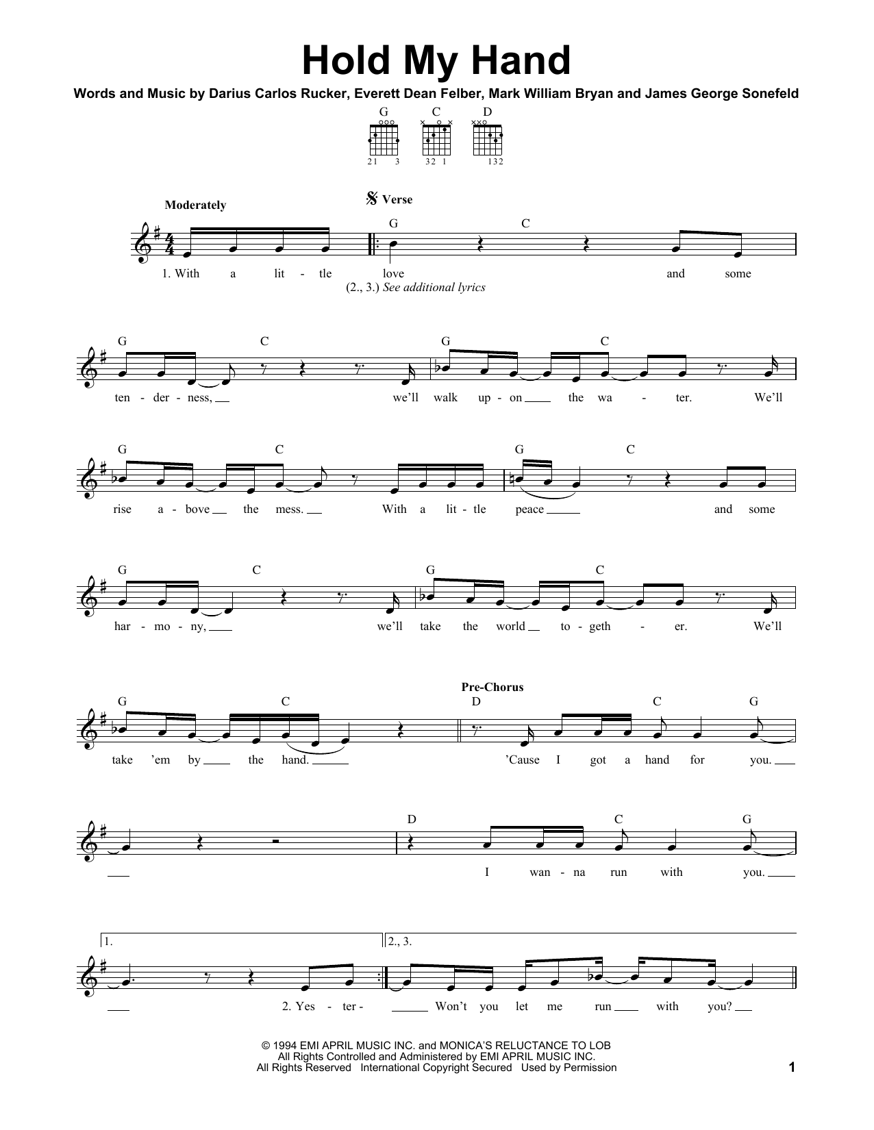 Tablature guitare Hold My Hand de Hootie & The Blowfish - Tablature guitare facile