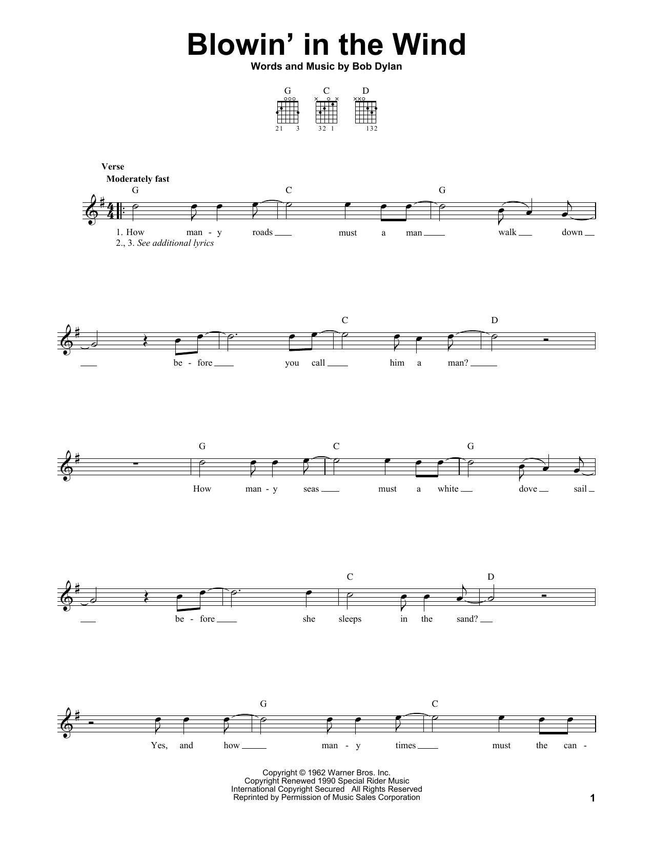 Tablature guitare Blowin' In The Wind de Bob Dylan - Tablature guitare facile