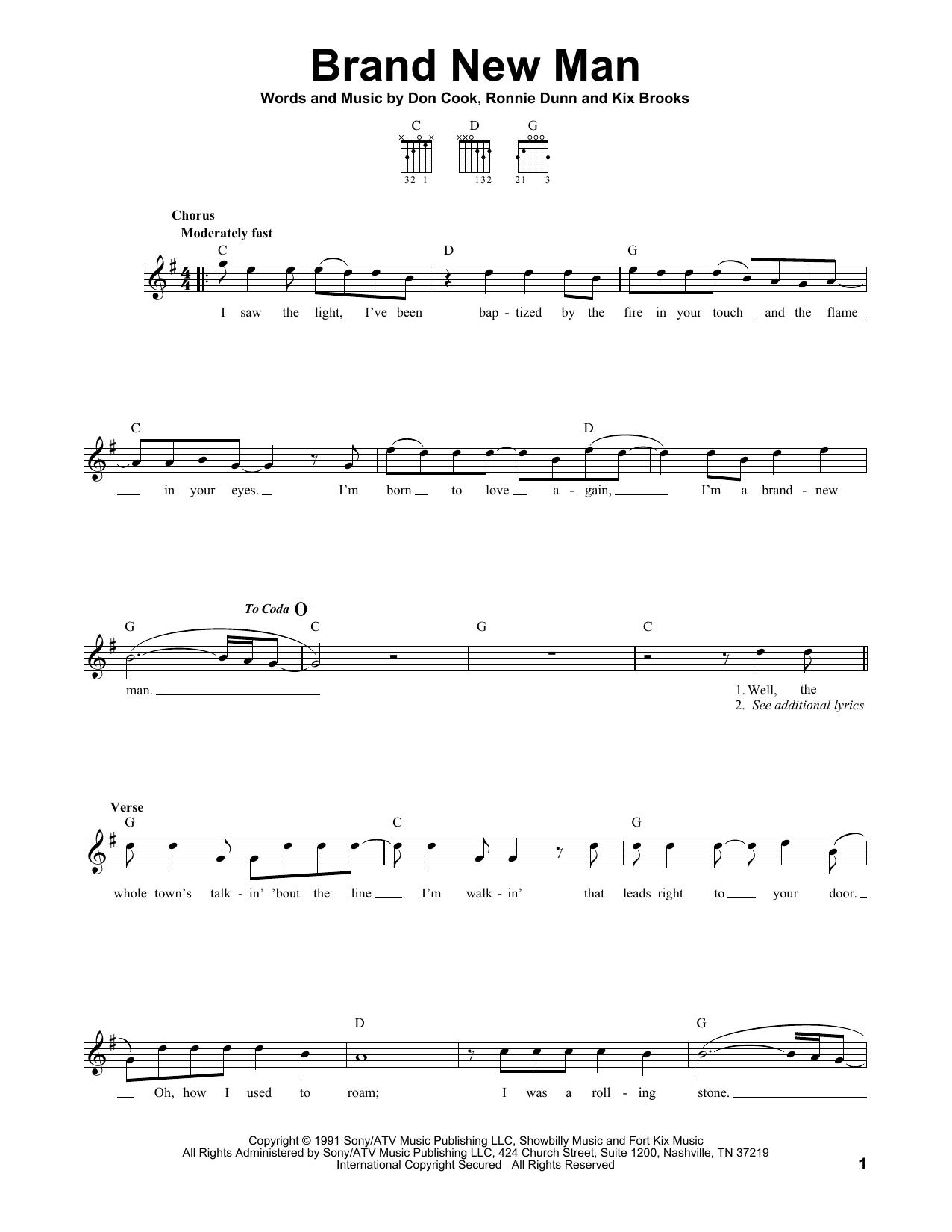 Tablature guitare Brand New Man de Brooks & Dunn - Tablature guitare facile