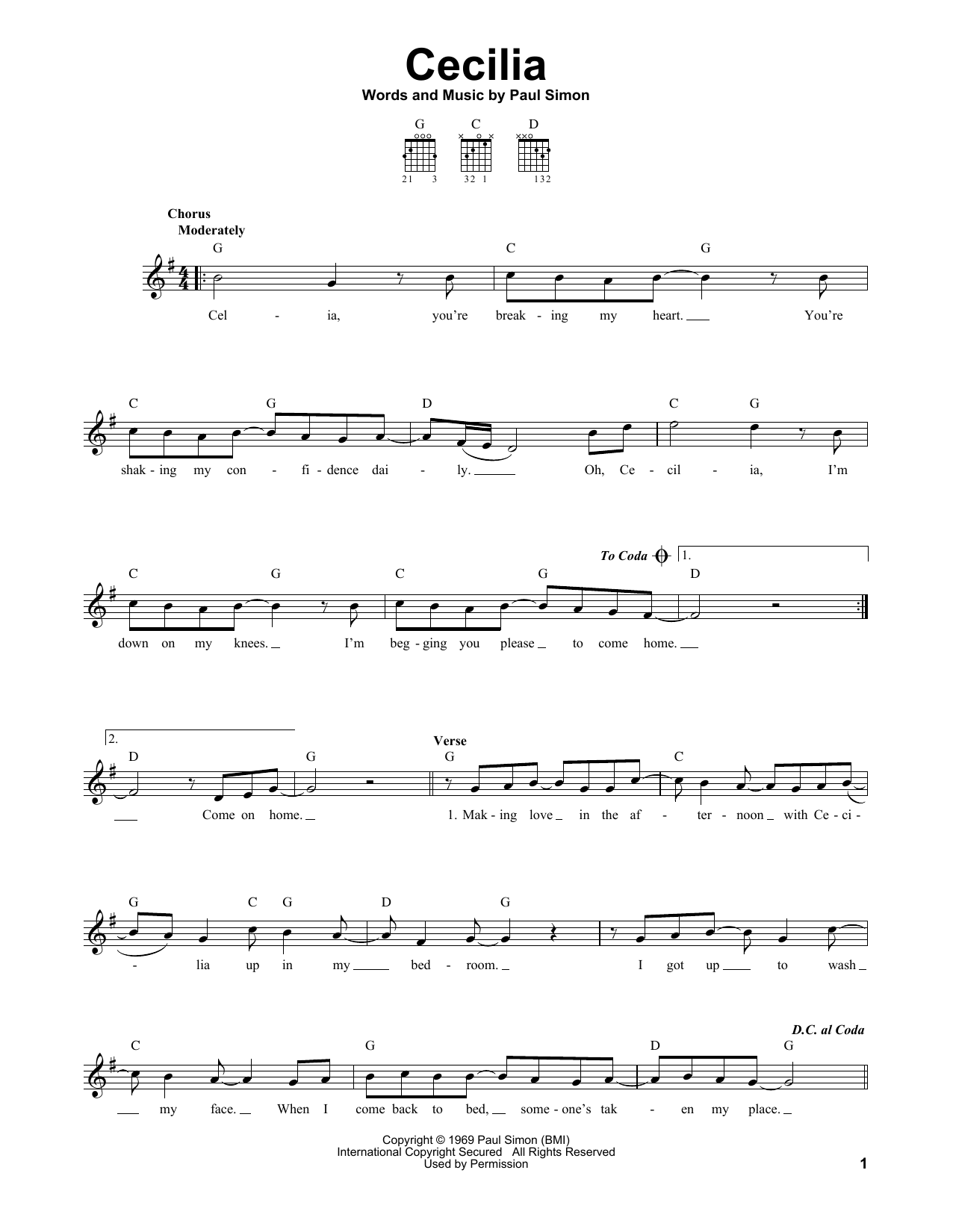 Tablature guitare Cecilia de Simon & Garfunkel - Tablature guitare facile