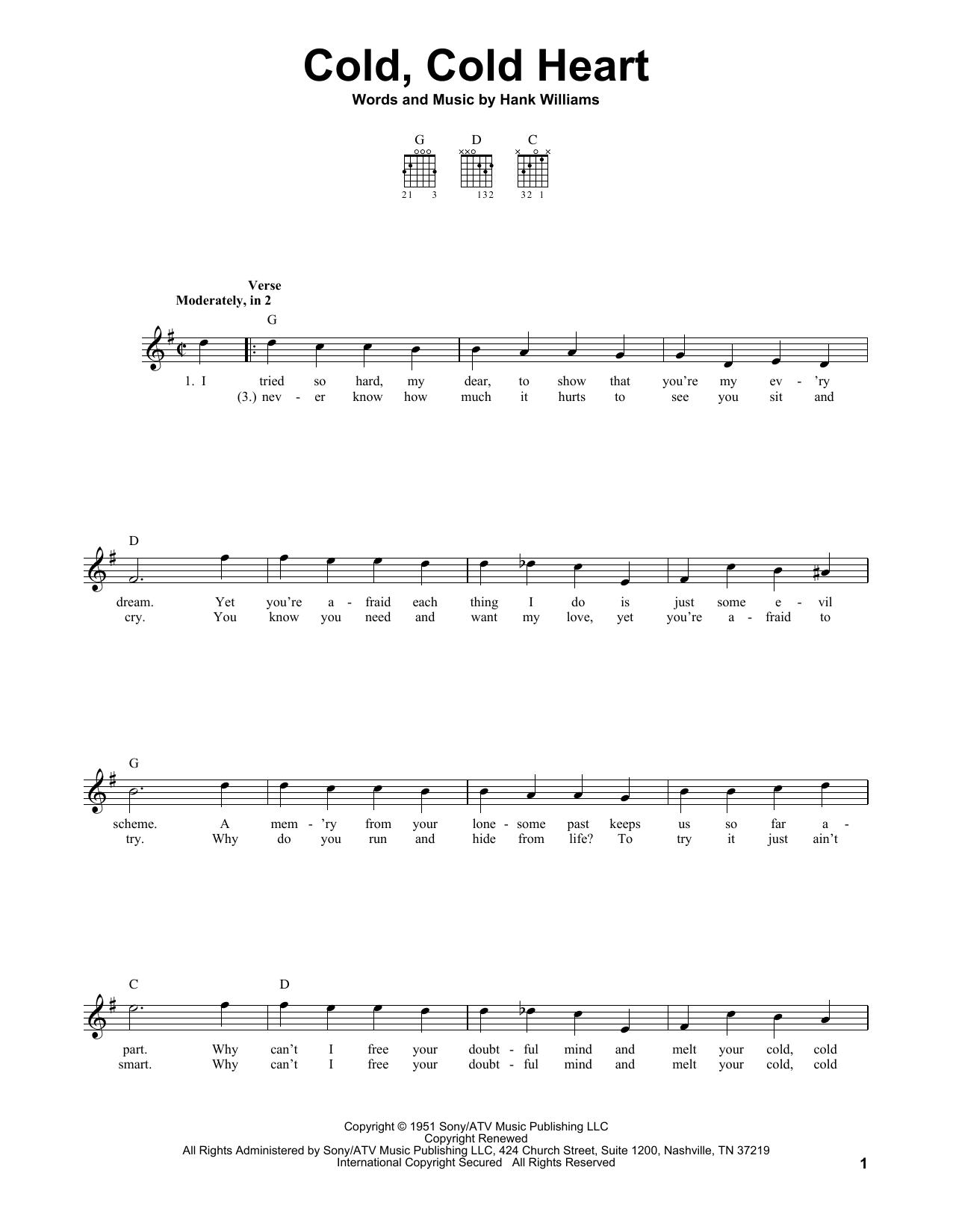 Tablature guitare Cold, Cold Heart de Hank Williams - Tablature guitare facile