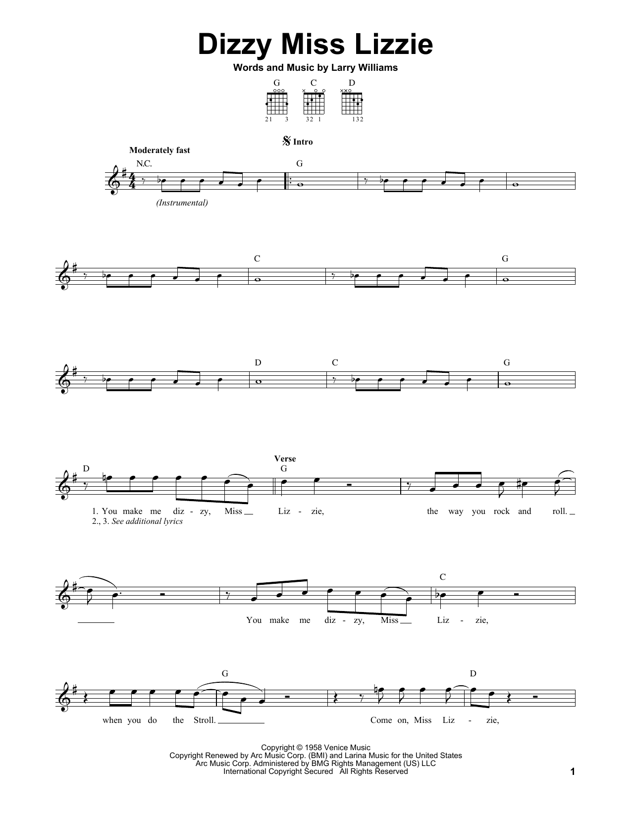 Tablature guitare Dizzy Miss Lizzie de The Beatles - Tablature guitare facile