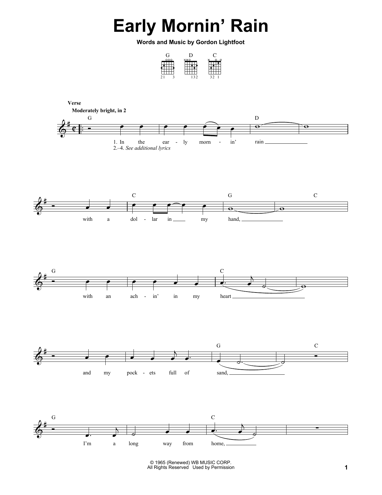 Tablature guitare Early Mornin' Rain de Gordon Lightfoot - Tablature guitare facile