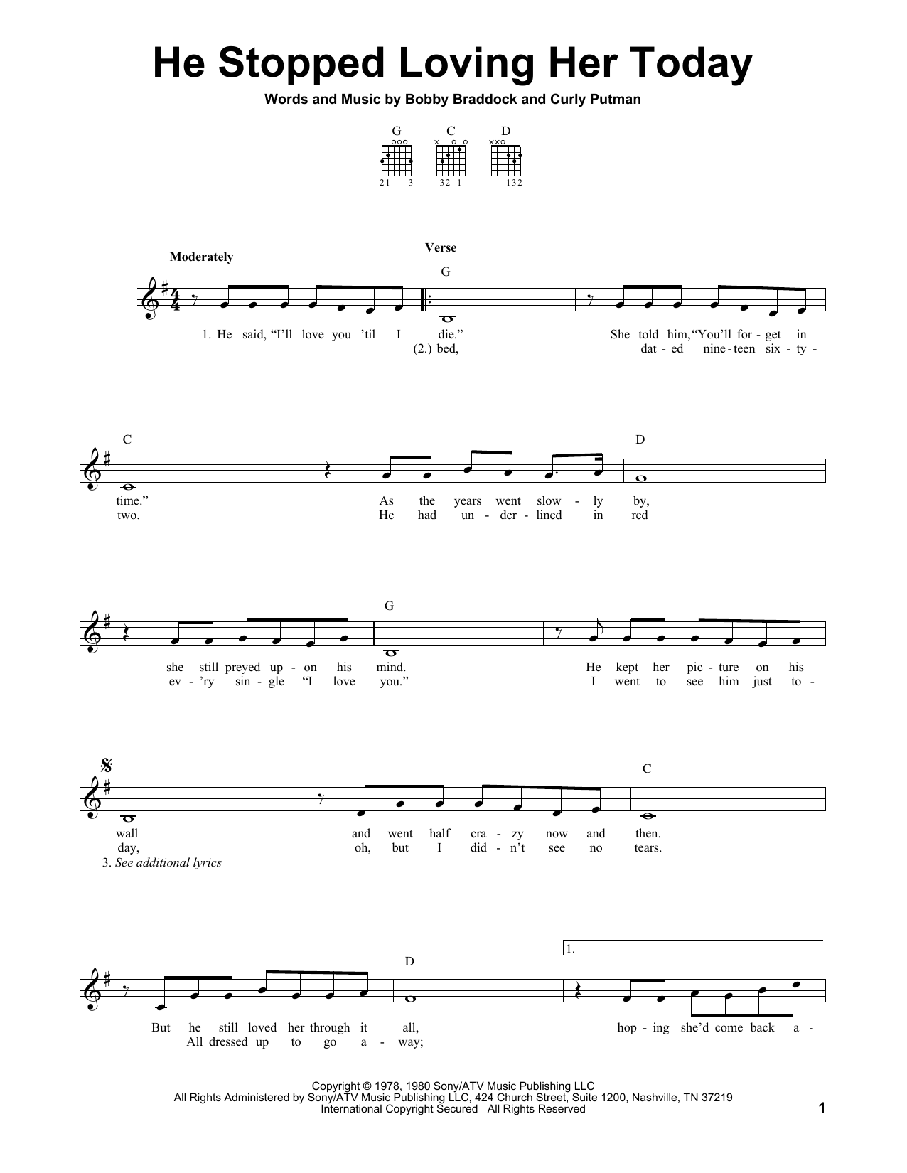 Sheet music digital files to print licensed george jones digital he stopped loving her today hexwebz Image collections