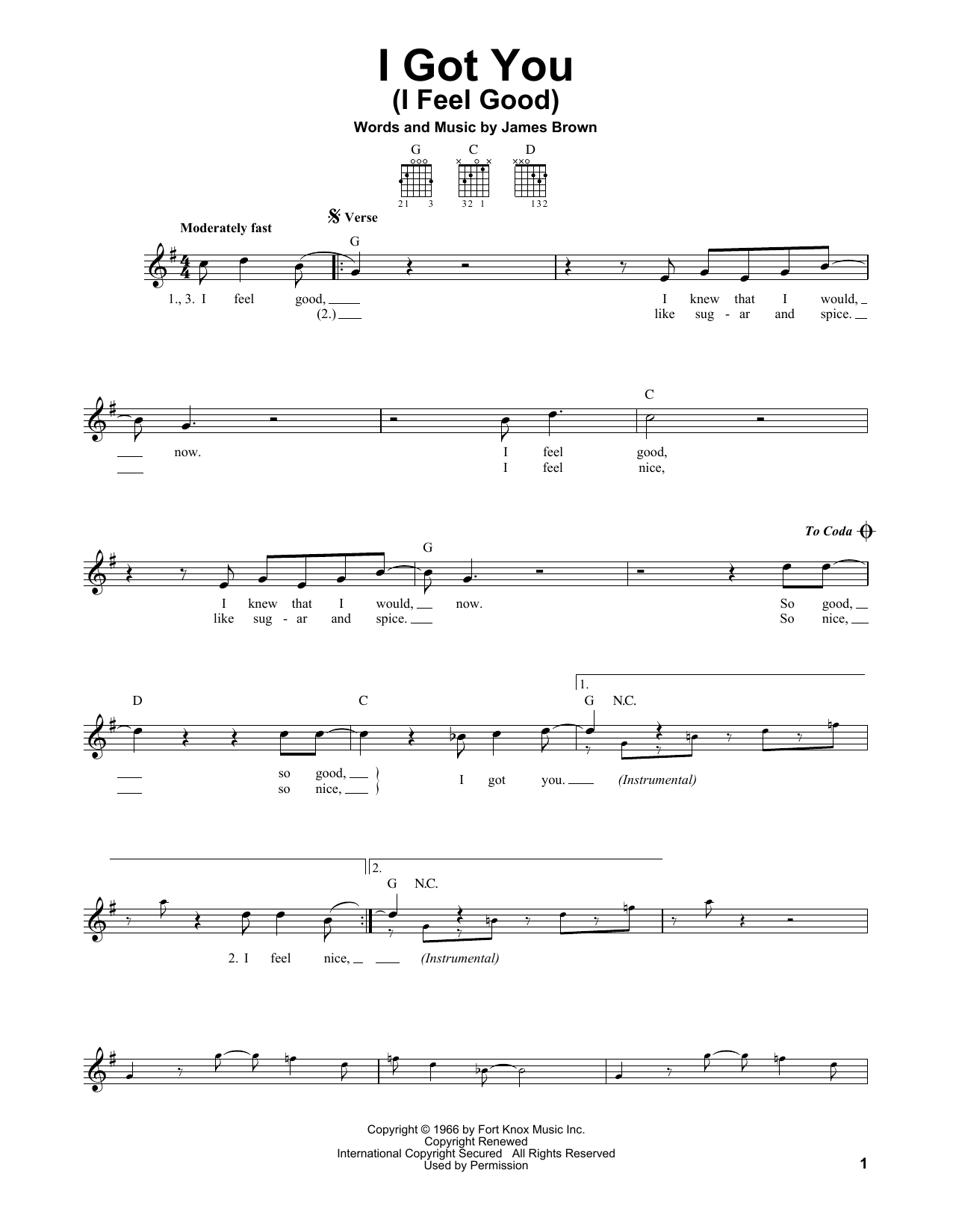 Tablature guitare I Got You (I Feel Good) de James Brown - Tablature guitare facile
