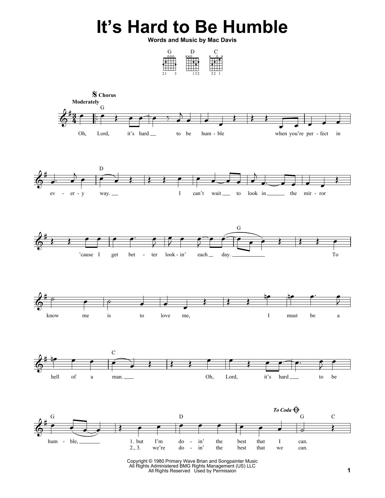 Tablature guitare It's Hard To Be Humble de Mac Davis - Tablature guitare facile