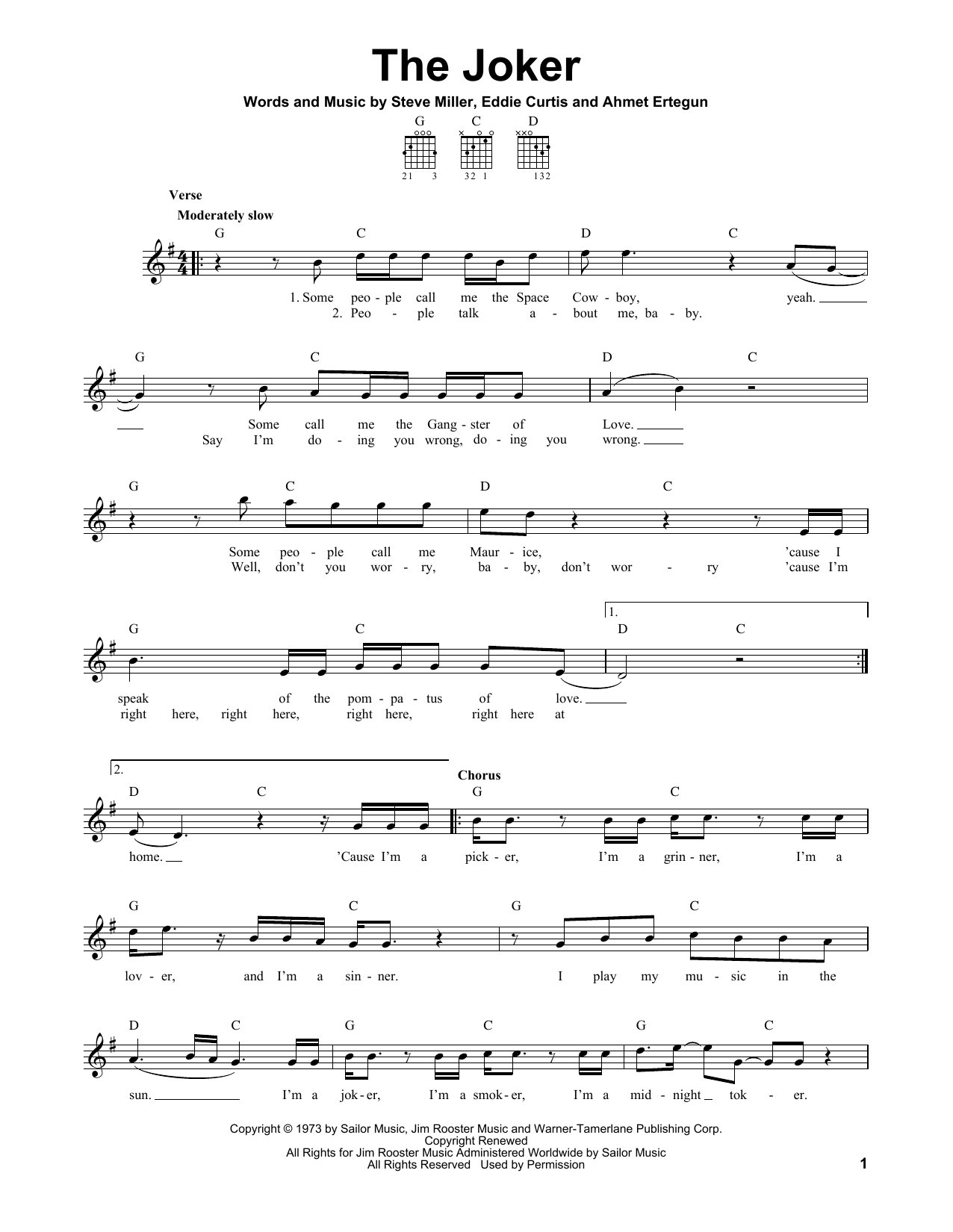 Tablature guitare The Joker de The Steve Miller Band - Tablature guitare facile