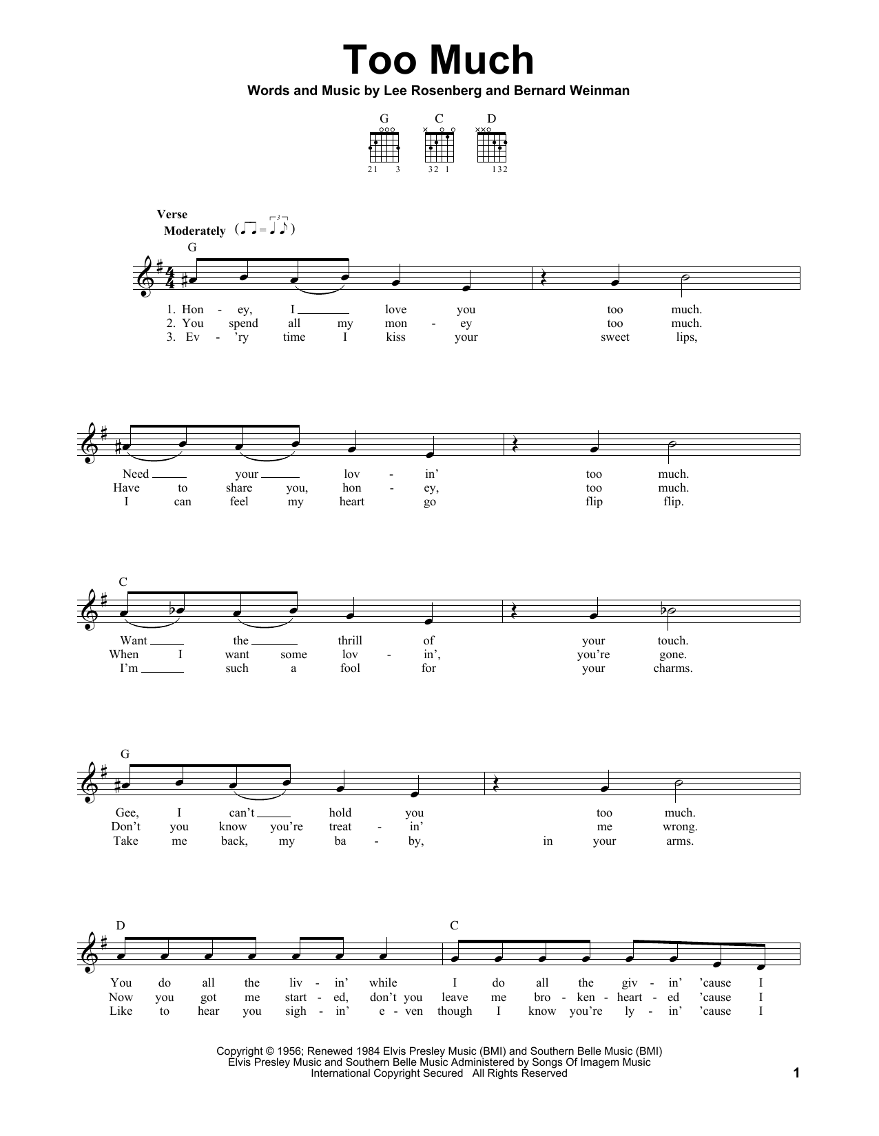 Tablature guitare Too Much de Elvis Presley - Tablature guitare facile
