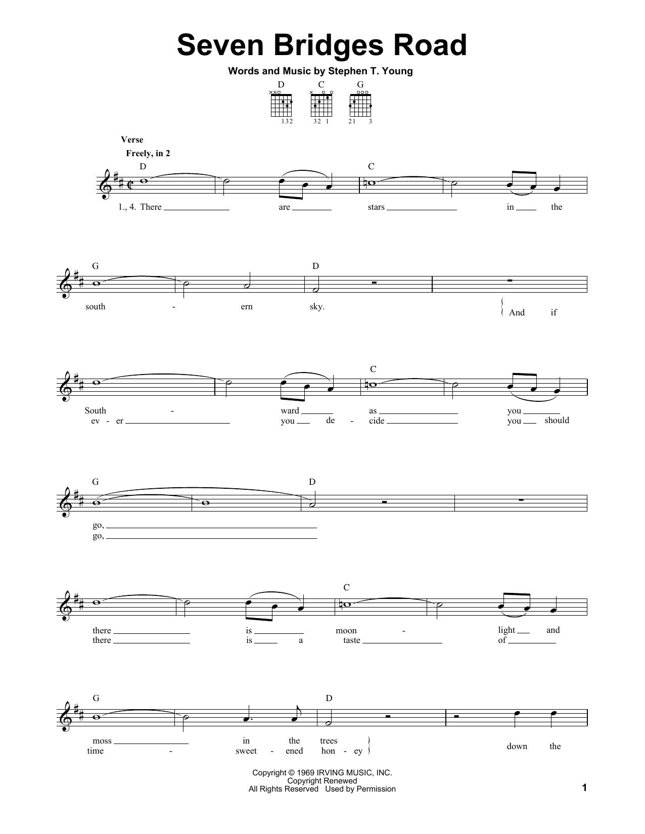 Tablature guitare Seven Bridges Road de Eagles - Tablature guitare facile