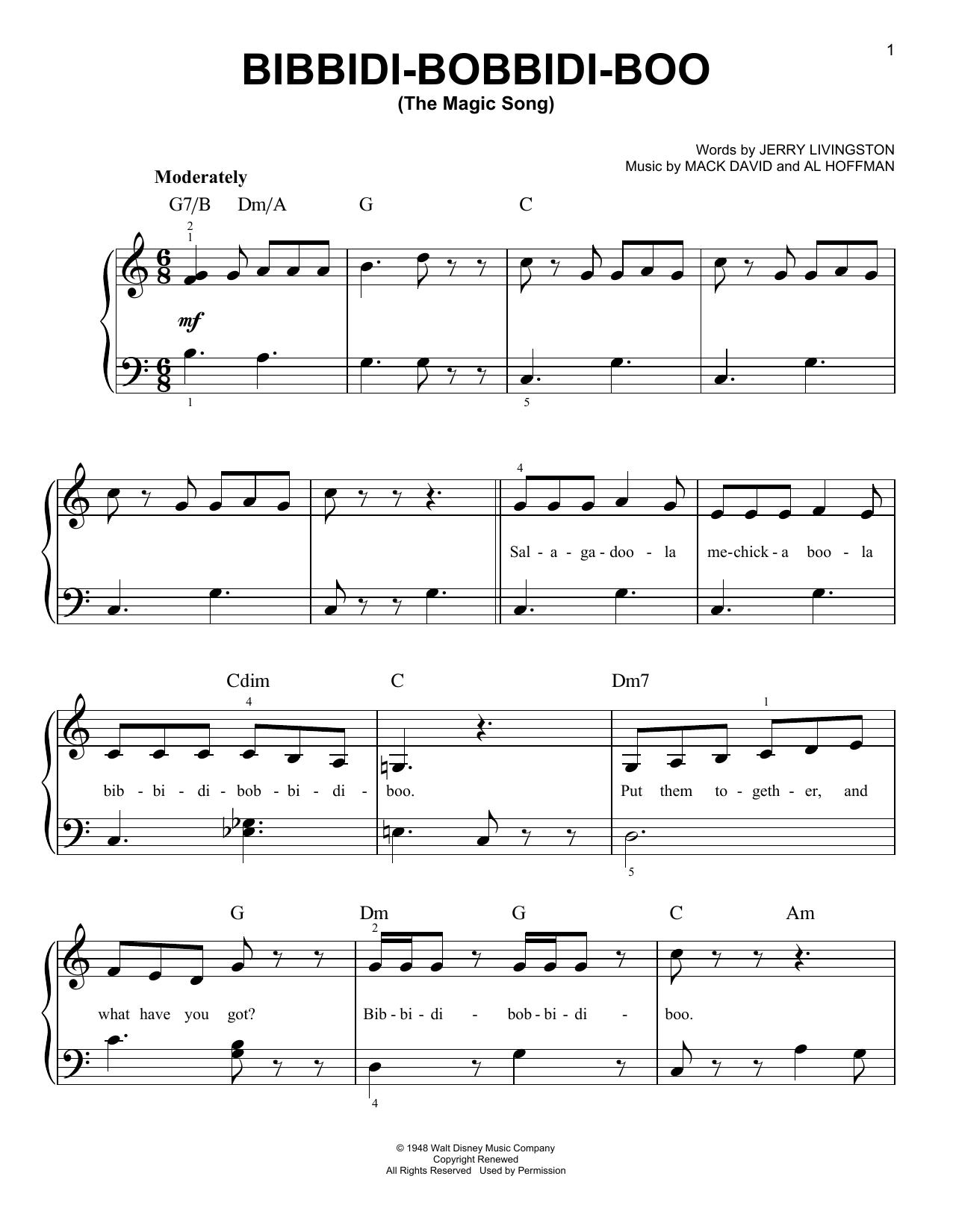Partition piano Bibbidi-Bobbidi-Boo (The Magic Song) de Verna Felton - Piano Facile