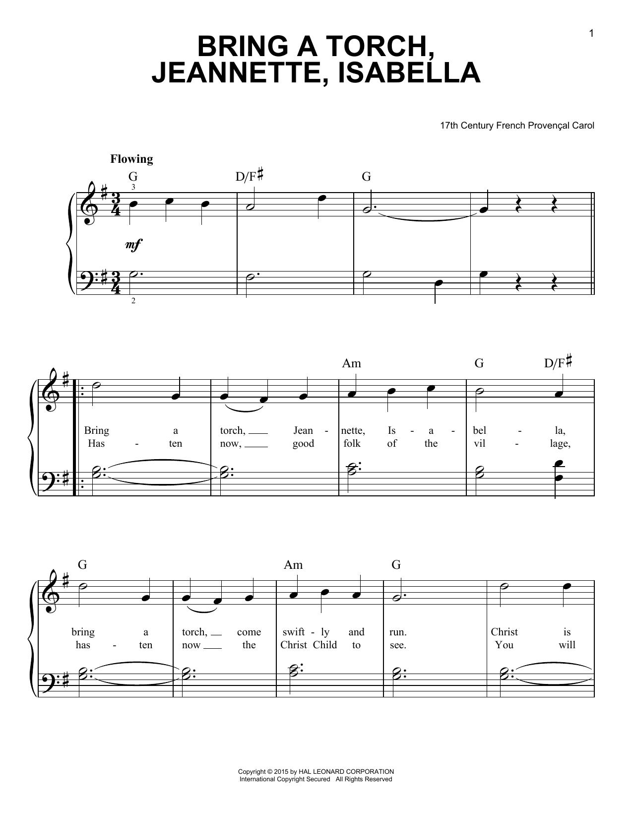 Partition piano Bring A Torch, Jeannette, Isabella de Traditional Carol - Piano Facile