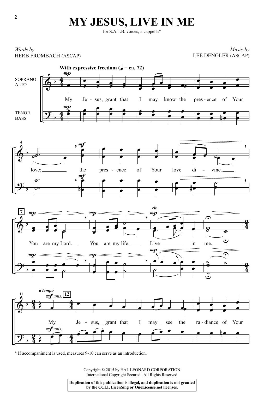 Partition chorale My Jesus, Live In Me de Lee Dengler - SATB