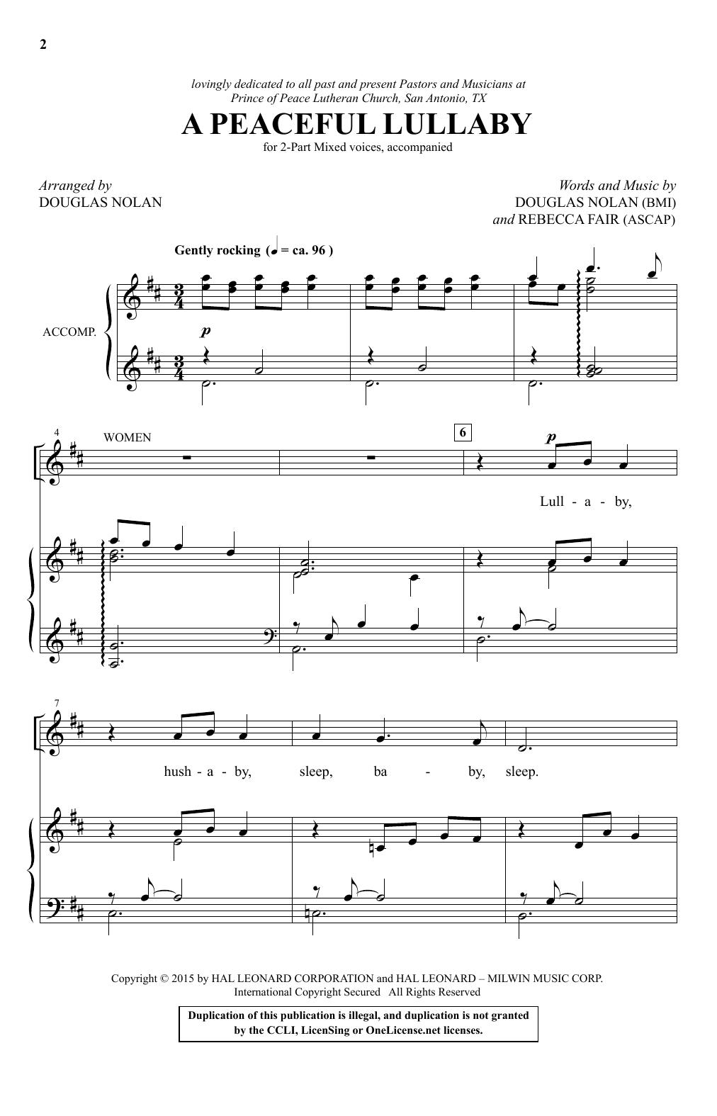 Partition chorale A Peaceful Lullaby de Douglas Nolan - 2 voix
