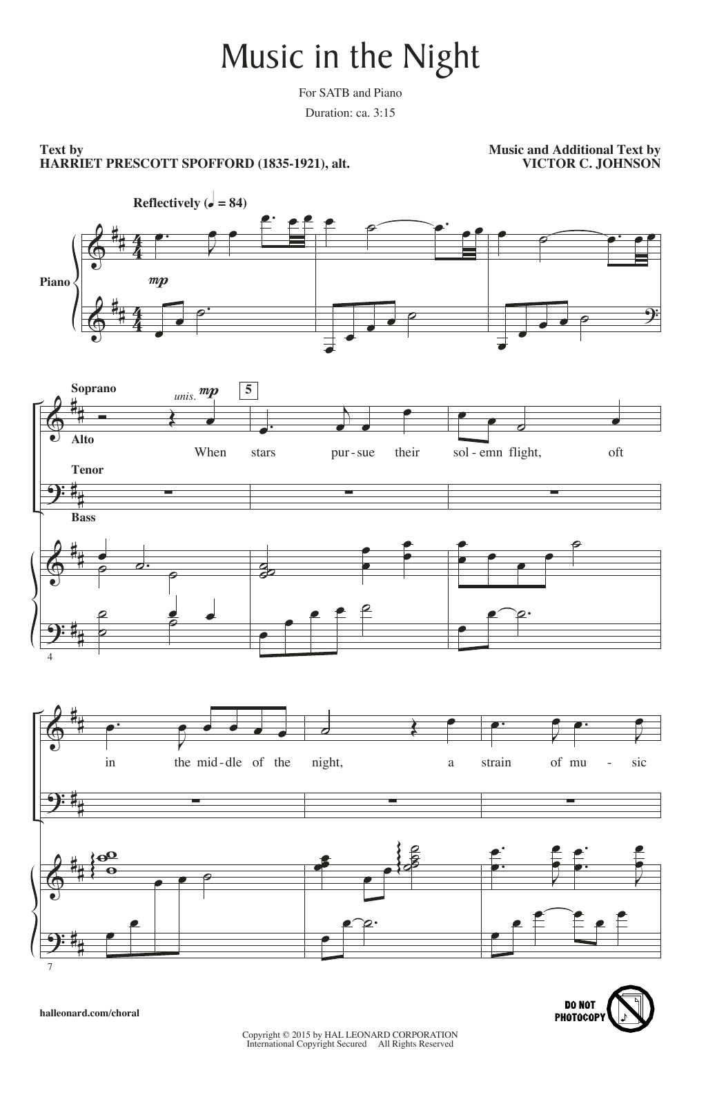 Partition chorale Music In The Night de Victor Johnson - SATB