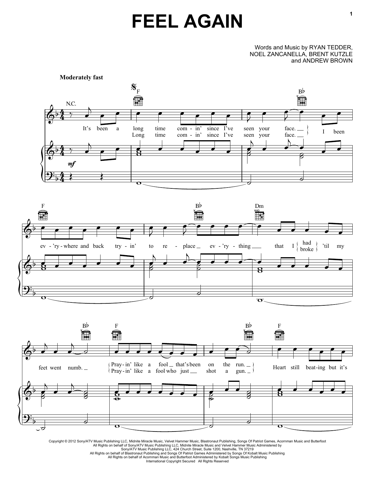 Partition piano Feel Again de OneRepublic - Piano Voix Guitare (Mélodie Main Droite)