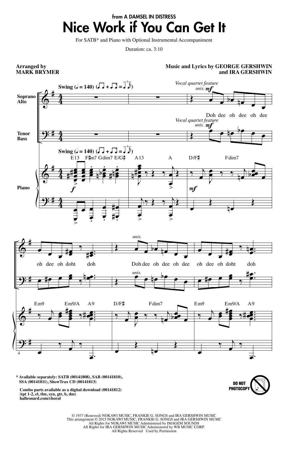 Partition chorale Nice Work If You Can Get It (arr. Mark Brymer) de George Gershwin - SATB