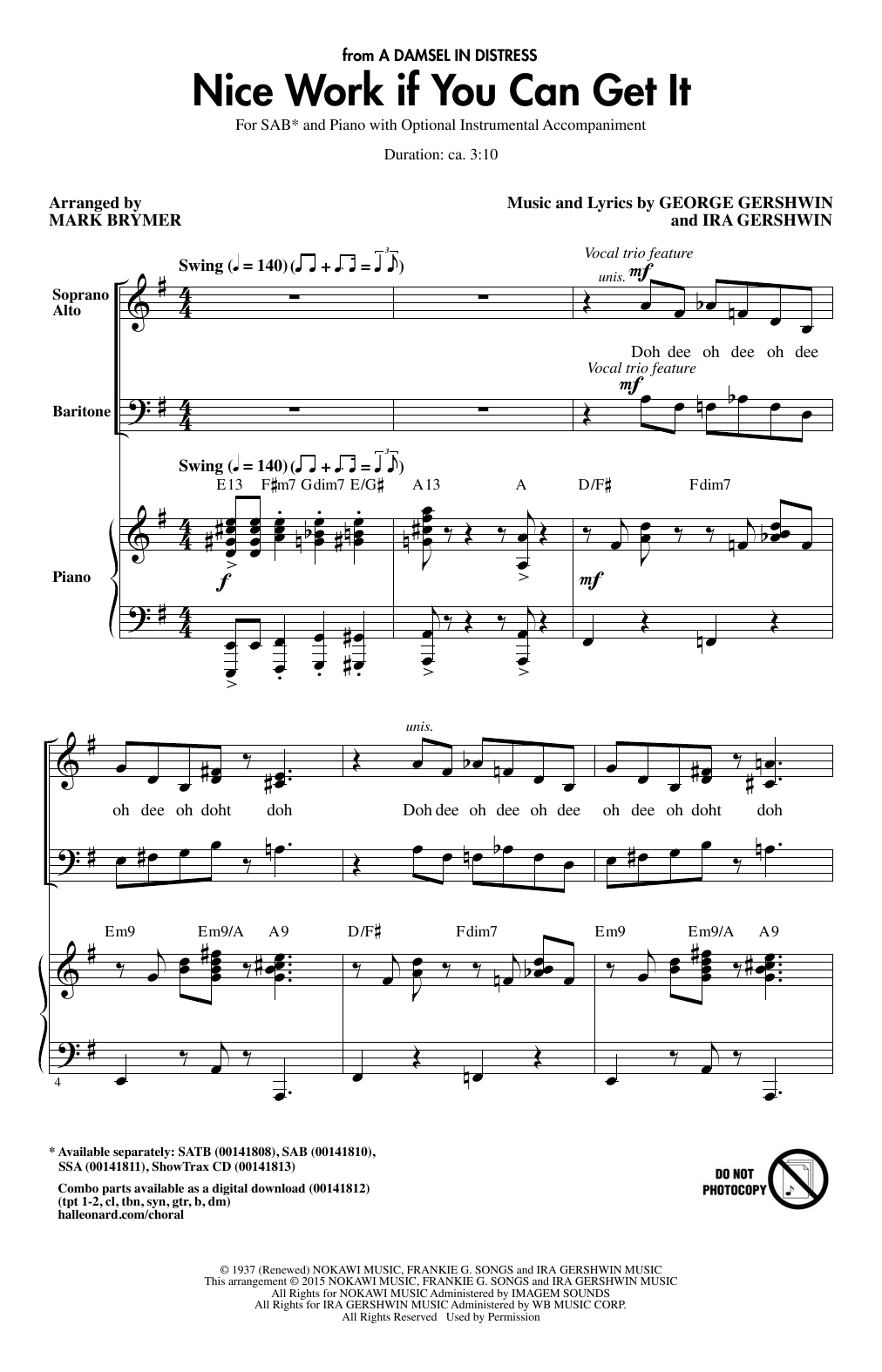 Partition chorale Nice Work If You Can Get It (arr. Mark Brymer) de George Gershwin - SAB