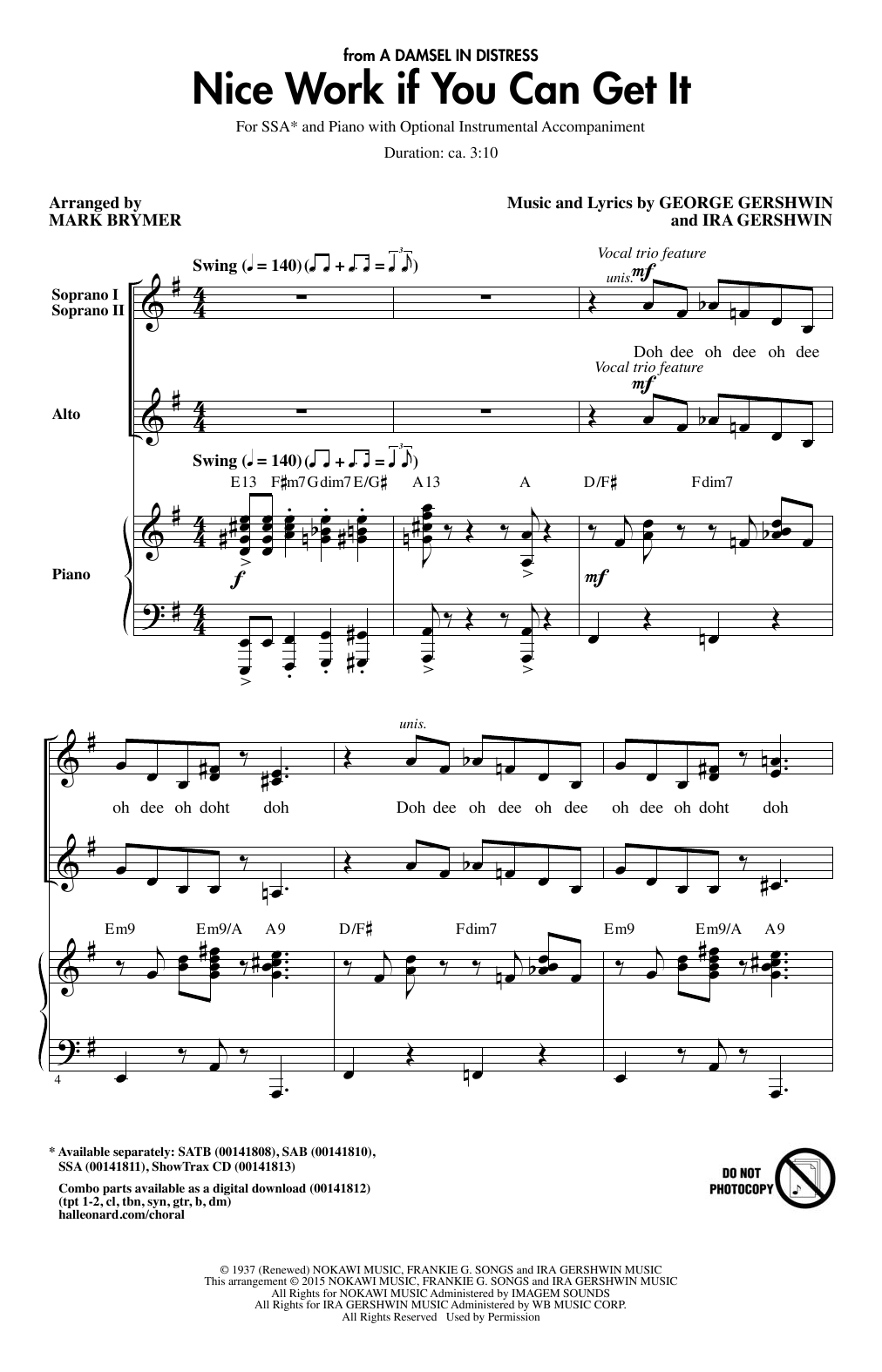 Partition chorale Nice Work If You Can Get It (arr. Mark Brymer) de George Gershwin - SSA