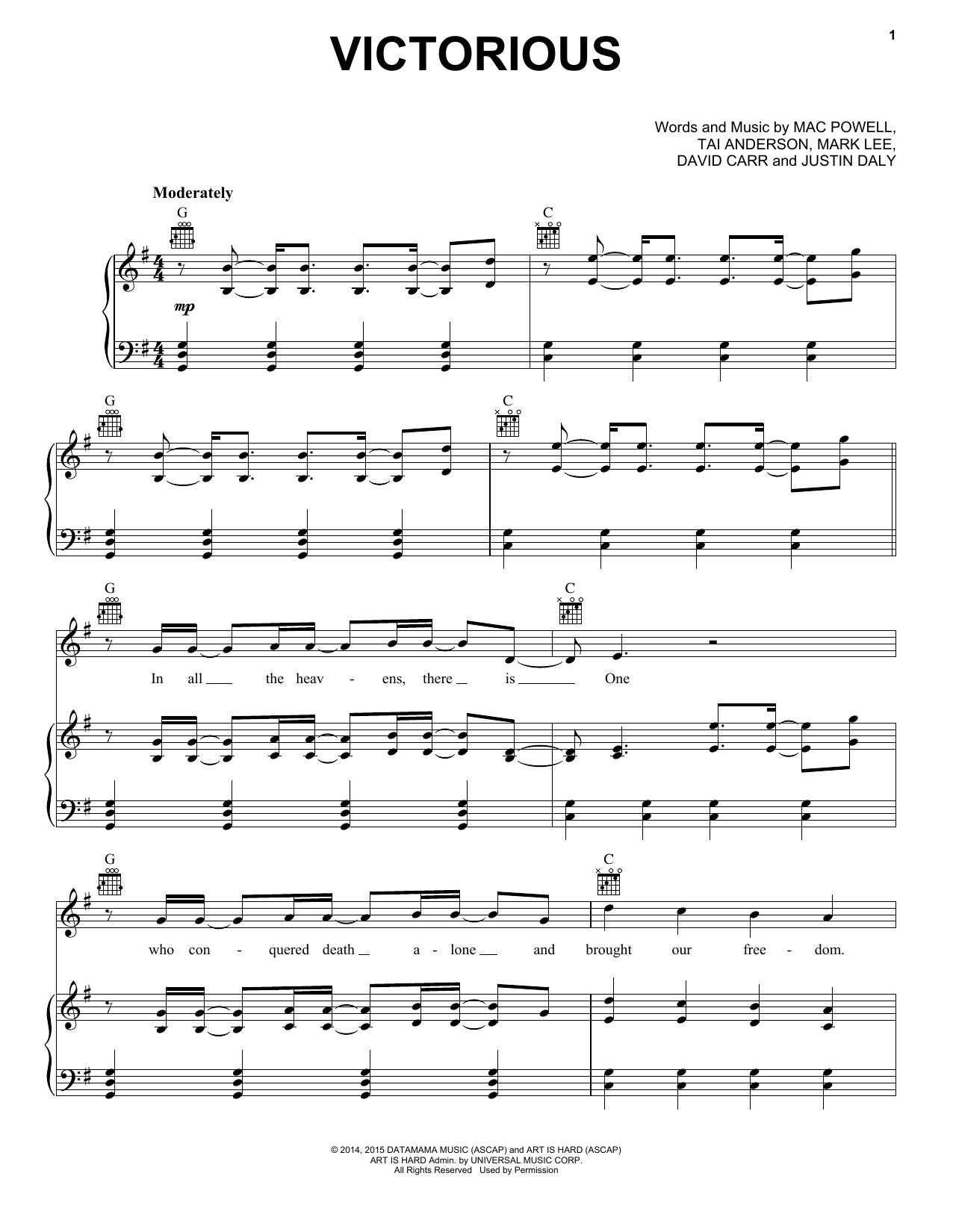 Partition piano Victorious de Third Day - Piano Voix Guitare (Mélodie Main Droite)