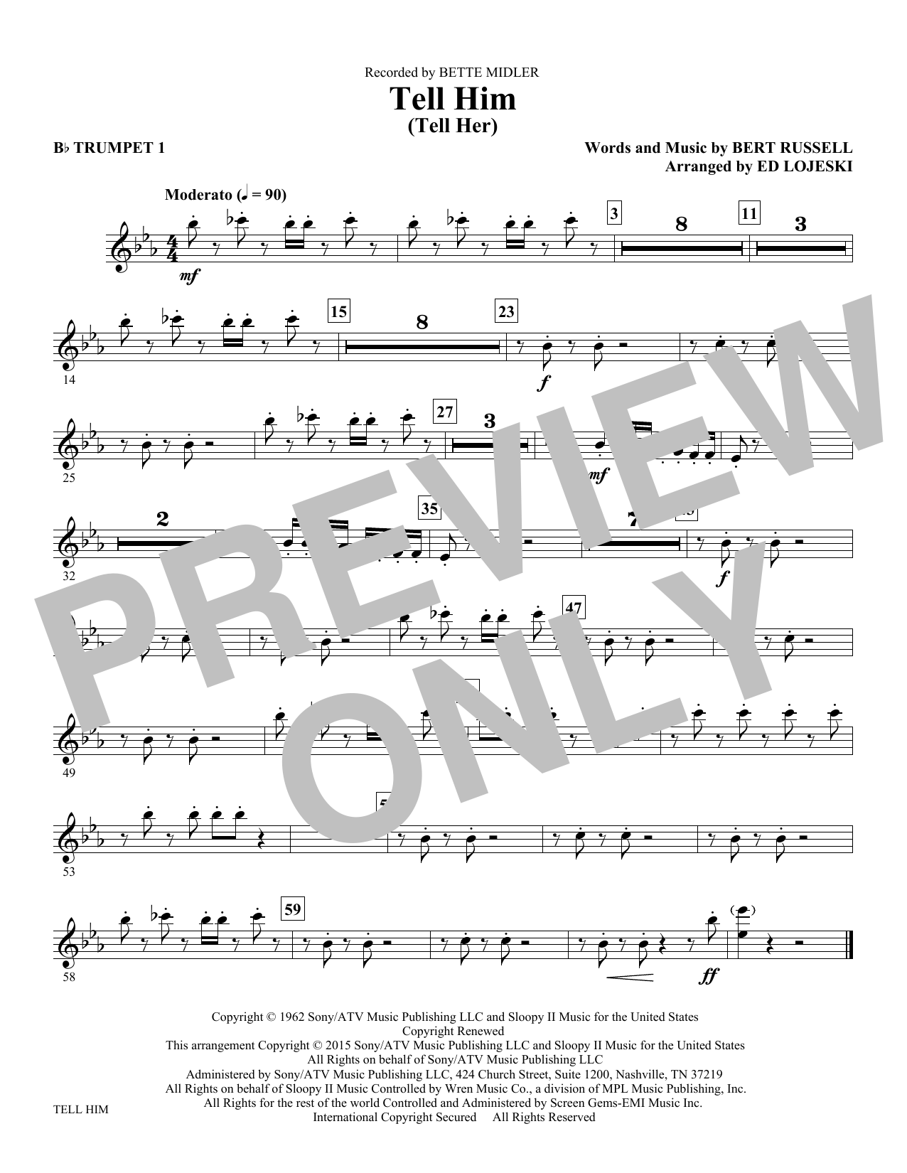 Tell Him (complete set of parts) sheet music for orchestra/band by Ed Lojeski