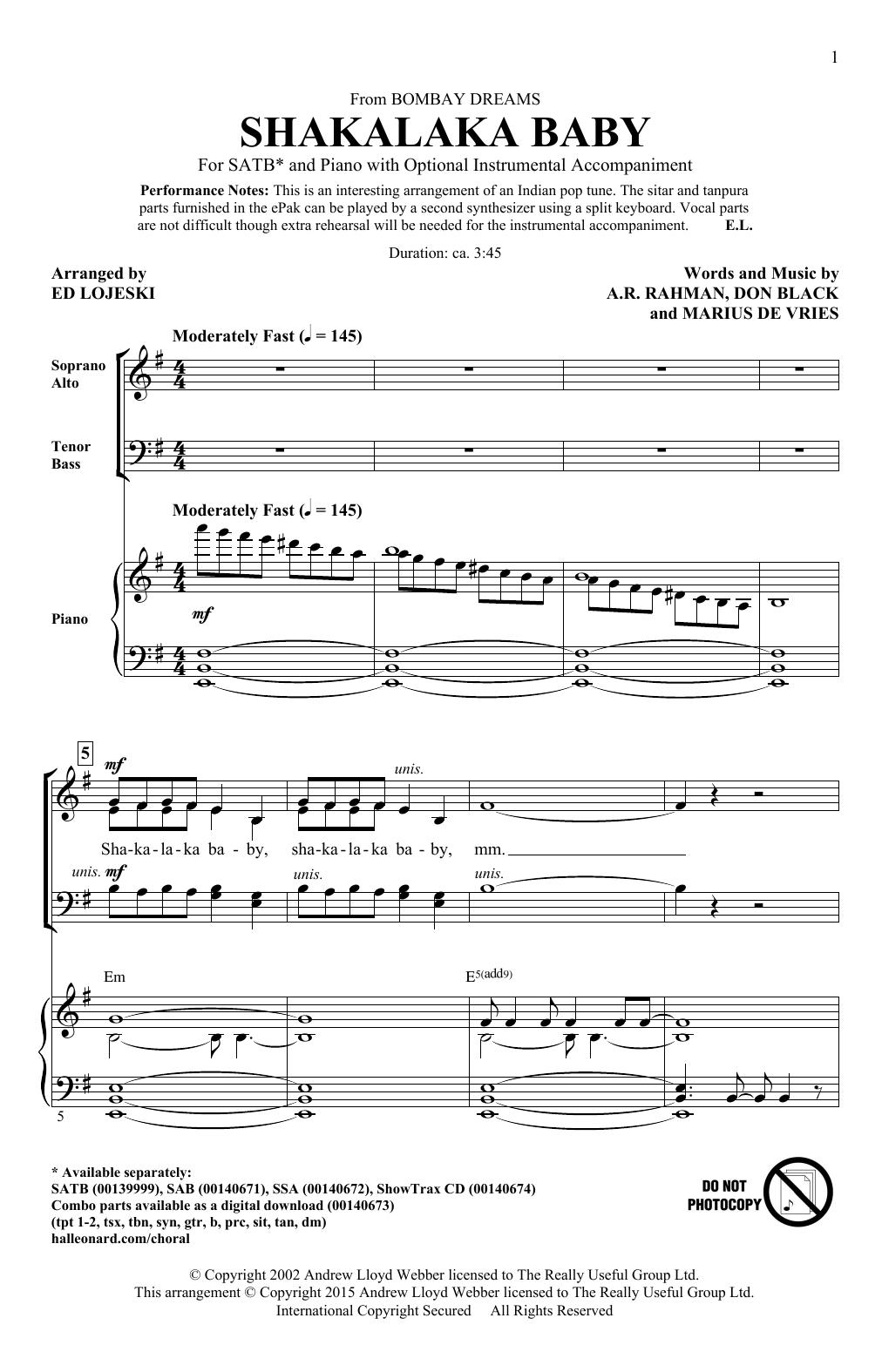 Partition chorale Shakalaka Baby (from Bombay Dreams) (arr. Ed Lojeski) de A. R. Rahman - SATB