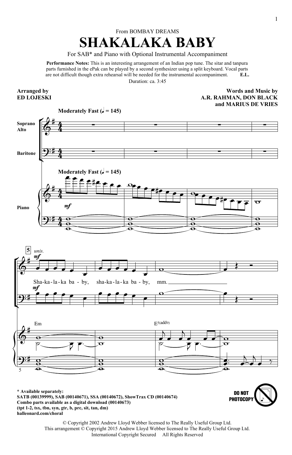 Partition chorale Shakalaka Baby (from Bombay Dreams) (arr. Ed Lojeski) de A. R. Rahman - SAB