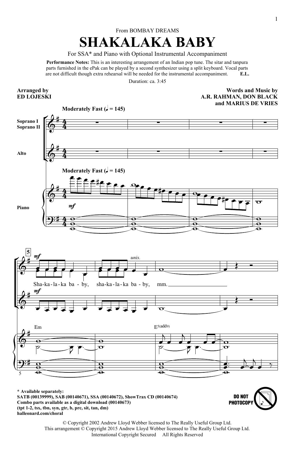 Partition chorale Shakalaka Baby (from Bombay Dreams) (arr. Ed Lojeski) de A. R. Rahman - SSA